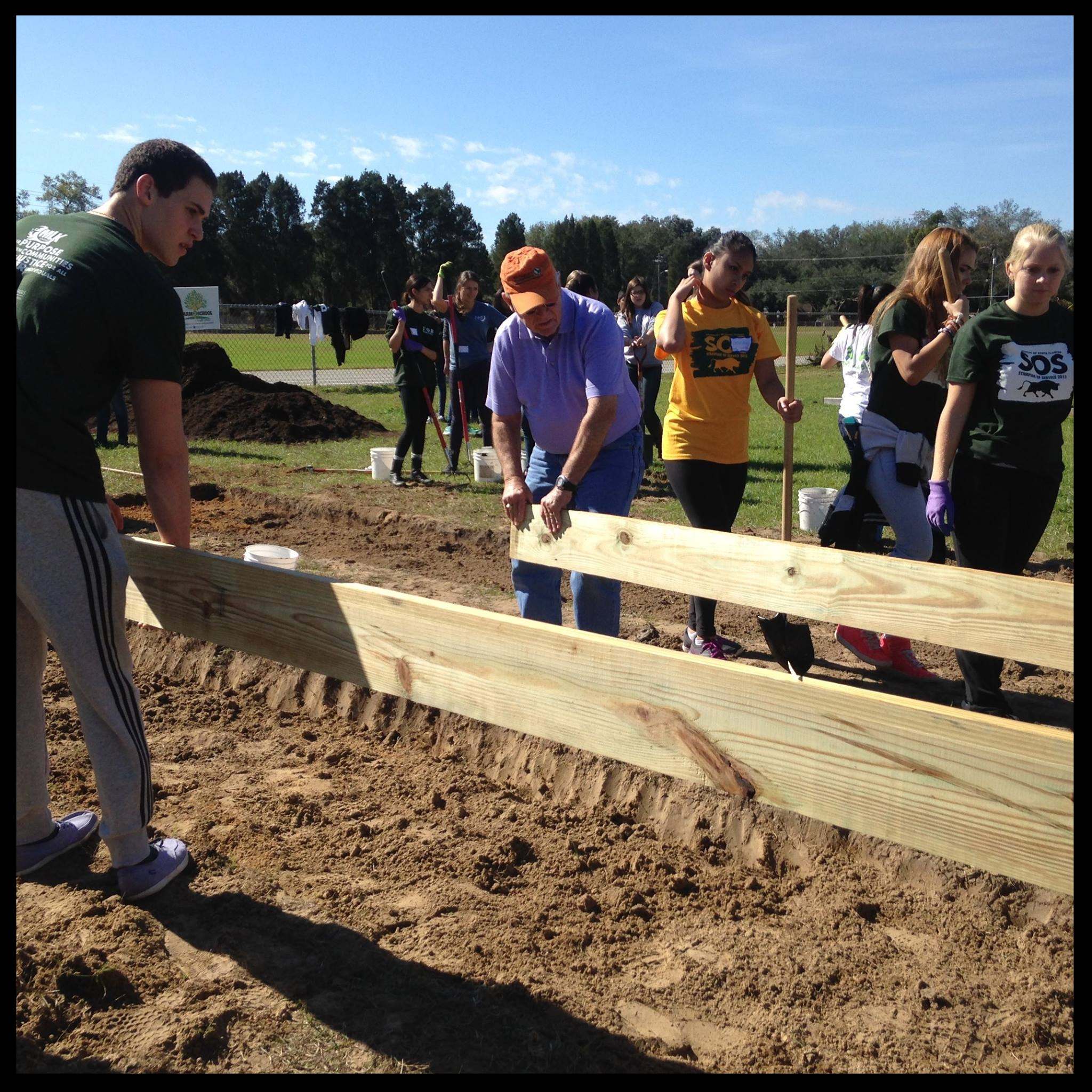 August 2015, TTF2S/USF volunteer team led by Gerry & Beth Curts building the Greco student Gardens.