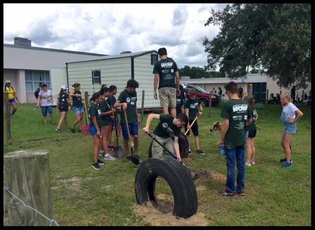 USF Freshman install tires to give the Farm Animals a little fun.