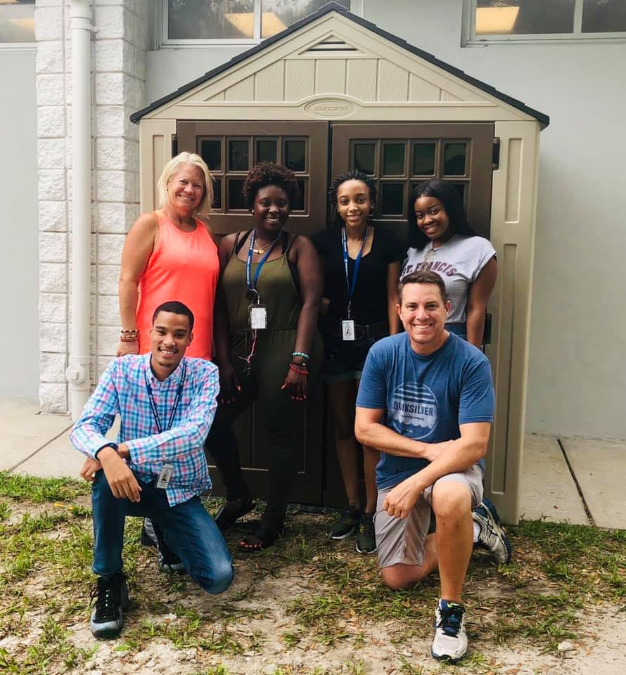 June 2019, F2s & the staff of the new Boys & Girls Club built the shed that will be used to store garden and cooking supplies.