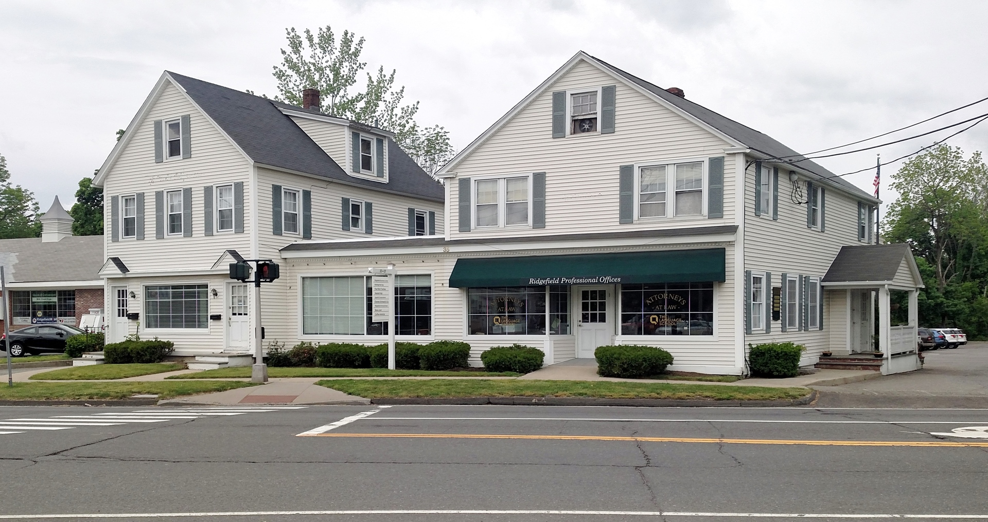 Prime office, retail or restaurant space in the heart of Ridgefield's Business District.  Easy accessibility with excellent exposure to one of the most transited roads in town, convenient to Lower Fairfield County. Offers some of the most visible storefront, retail, and restaurant space in town.  Ample parking with a traffic light    35 Danbury Road is fully occupied at this time.       Please click here      to view other commercial space that we have available.