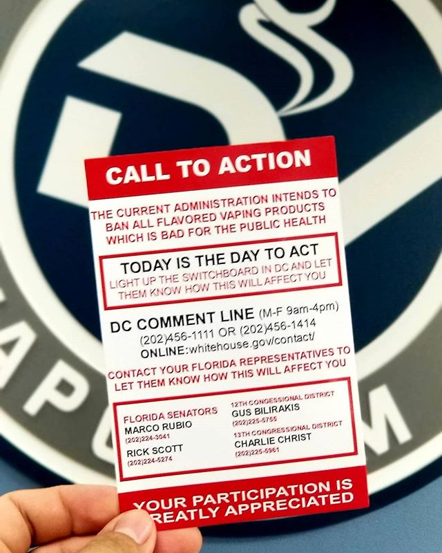 MAKE THE CALL TODAY!! The current government administration is trying to ban all flavored vaping products. We all need to group together and make the call! Contact the whitehouse at (202)456-1111, or visit whitehouse.gov/contact and make your voice heard!! #vapeaddict #vape #guyswhovape #vape #vapelife #vapelyfe #vapenation #vapehooligan #dripaddicts #drippin_awesome #dripclub #vapestrong #vapesociety #vapeshop #vapesafe #vapegram #vapegoons #vapers #girlswhovape #subohmclub #vaporwave #vapetastic #vapetime #dtv #downtownclearwater #clearwaterbeach #downtownvaporium #wevapewevote