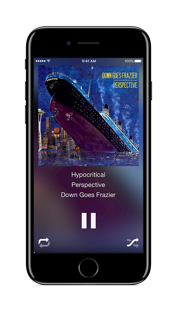 Simple controls make it easy to pause (tap anywhere on screen), skip (just swipe left), replay (just swipe right) or get to your music (swipe down).