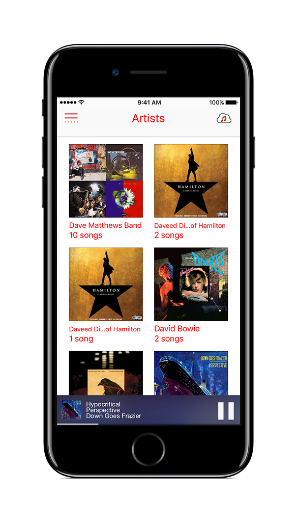 Just tap an artist, album or playlist and you're listening to music. No complex navigation required nor having to tap small hit targets while you are driving/running/biking!