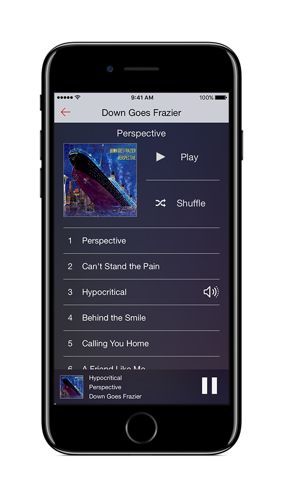 Swipe left and right to view artists, albums or playlists.
