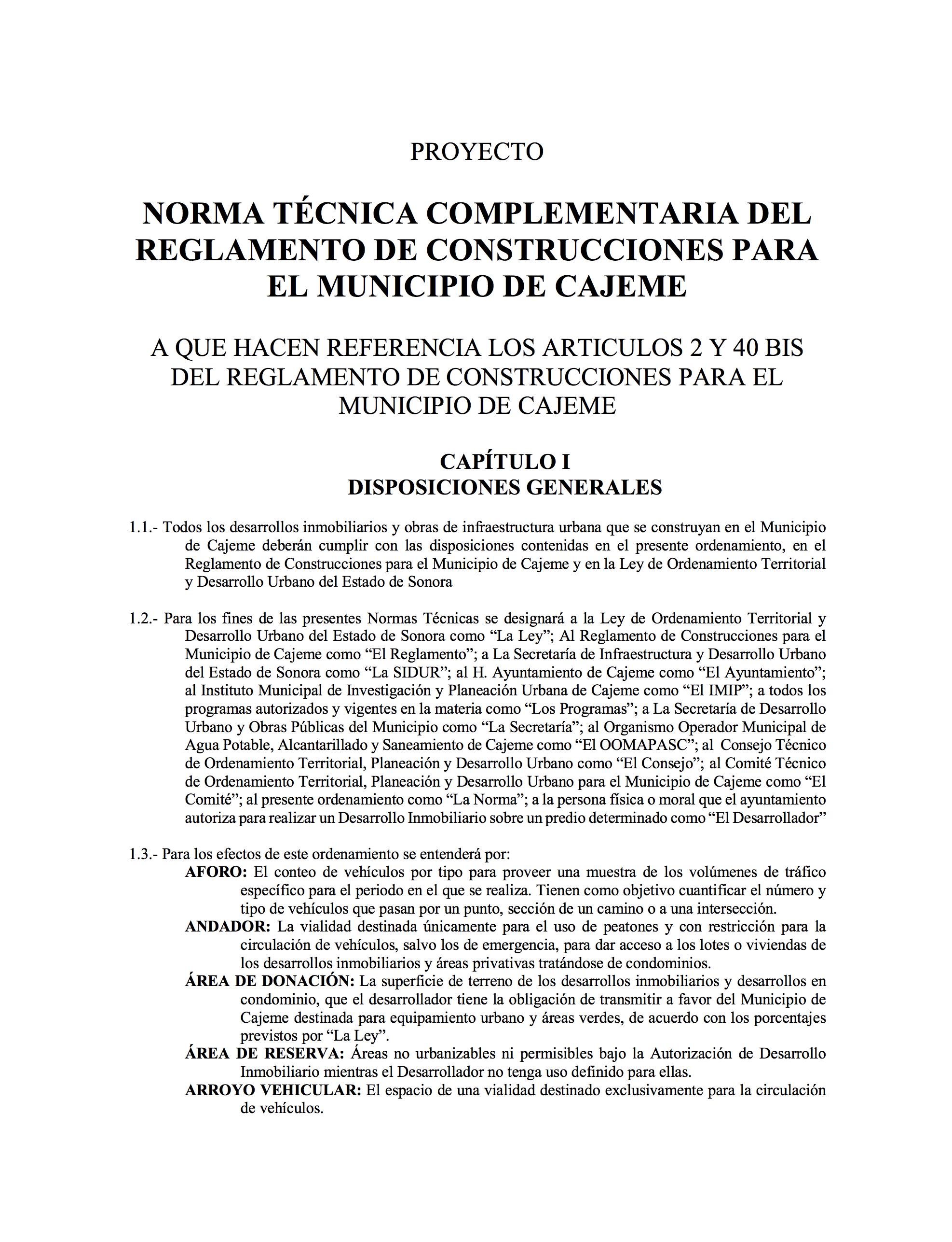 2018 NORMA TÉCNICA COMPLEMENTARIA DEL REGLAMENTO DE CONSTRUCCIONES PARA EL MUNICIPIO DE CAJEME