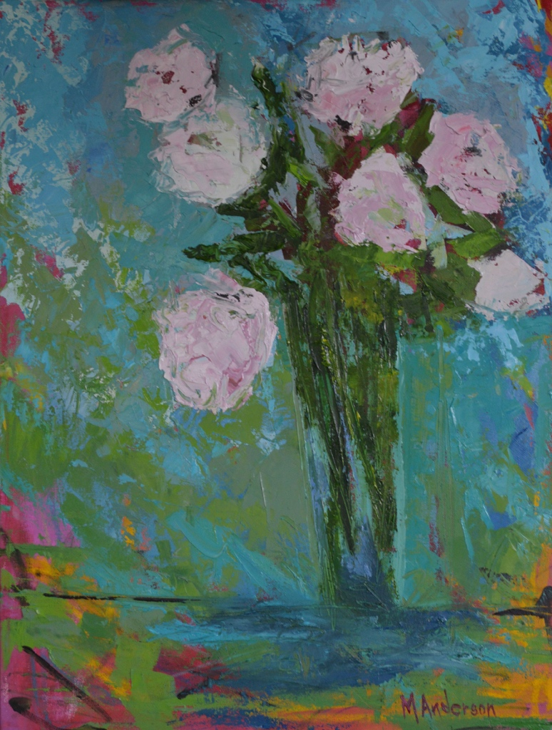 Bright Peonies (24x18 Canvas) - Sold