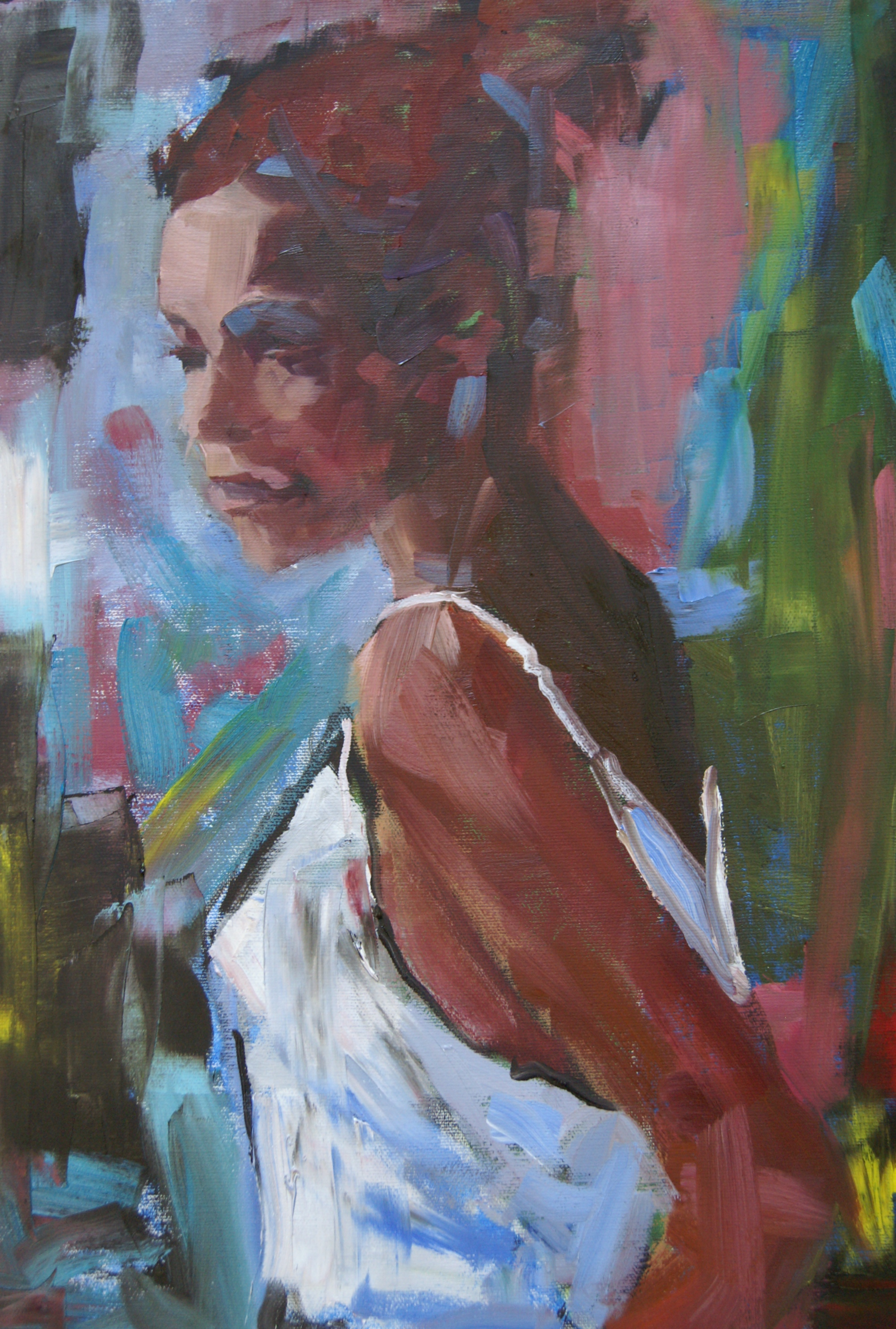 Woman in White (18x14 Oil on Board) - Available