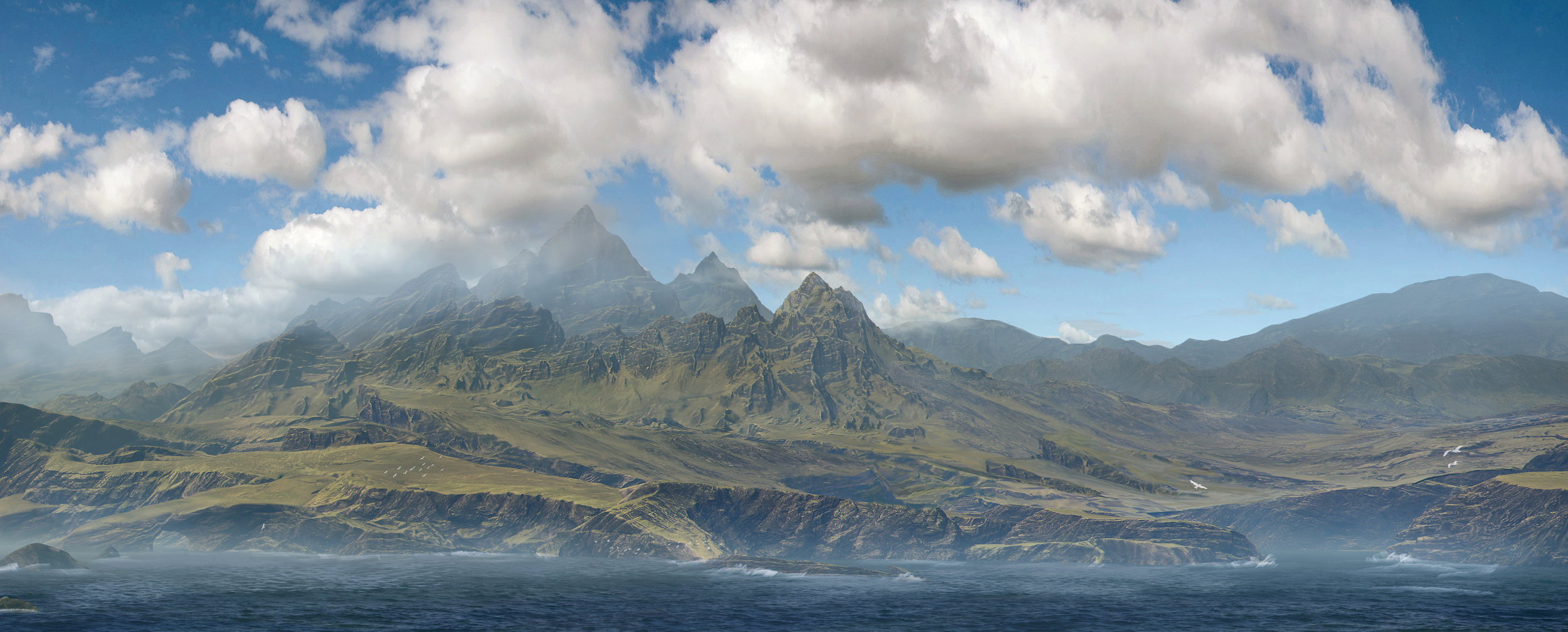 3d Modeling of Vista,  Sky artwork, paintover for concept.