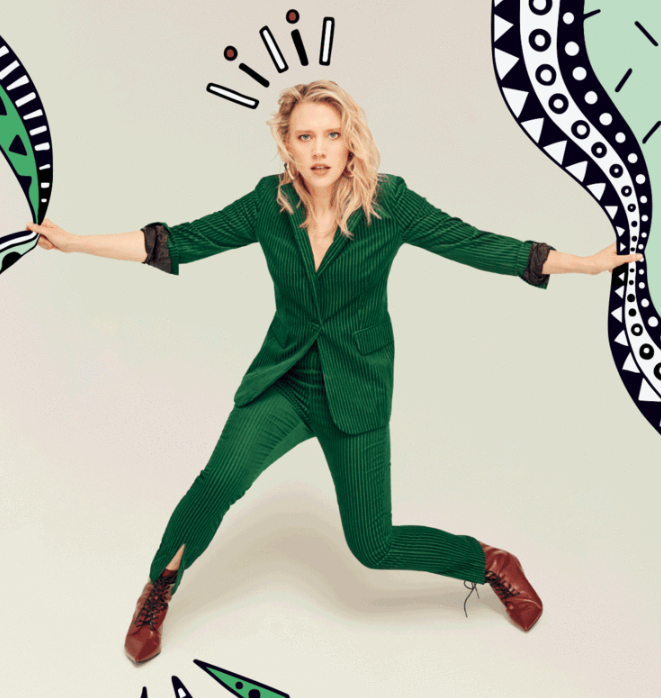 introducing kate mckinnon (glamour)     She doesn't talk to anyone or seem to hear the audience laughing. She looks like a slingshot stretched tight, ready to release.