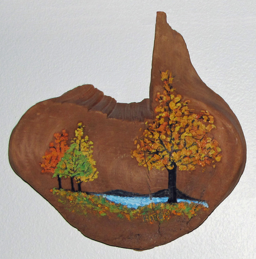 "Trees $400 Lilith Maxine Hibbs 200 Enamel oil on driftwood Irregular 11"" by 11"""