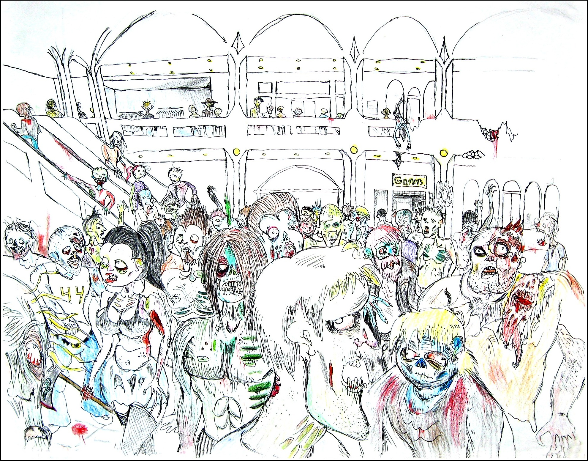 Zombies at the mall                              Spencer Rideout Pen and colored pencils photo print $45