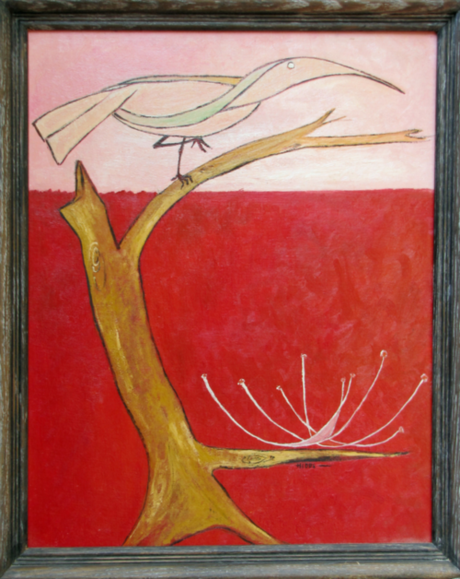 "Bird in a Tree $575 Lilith Maxine Hibbs c1970 Oil on hardboard 16"" by 20"""