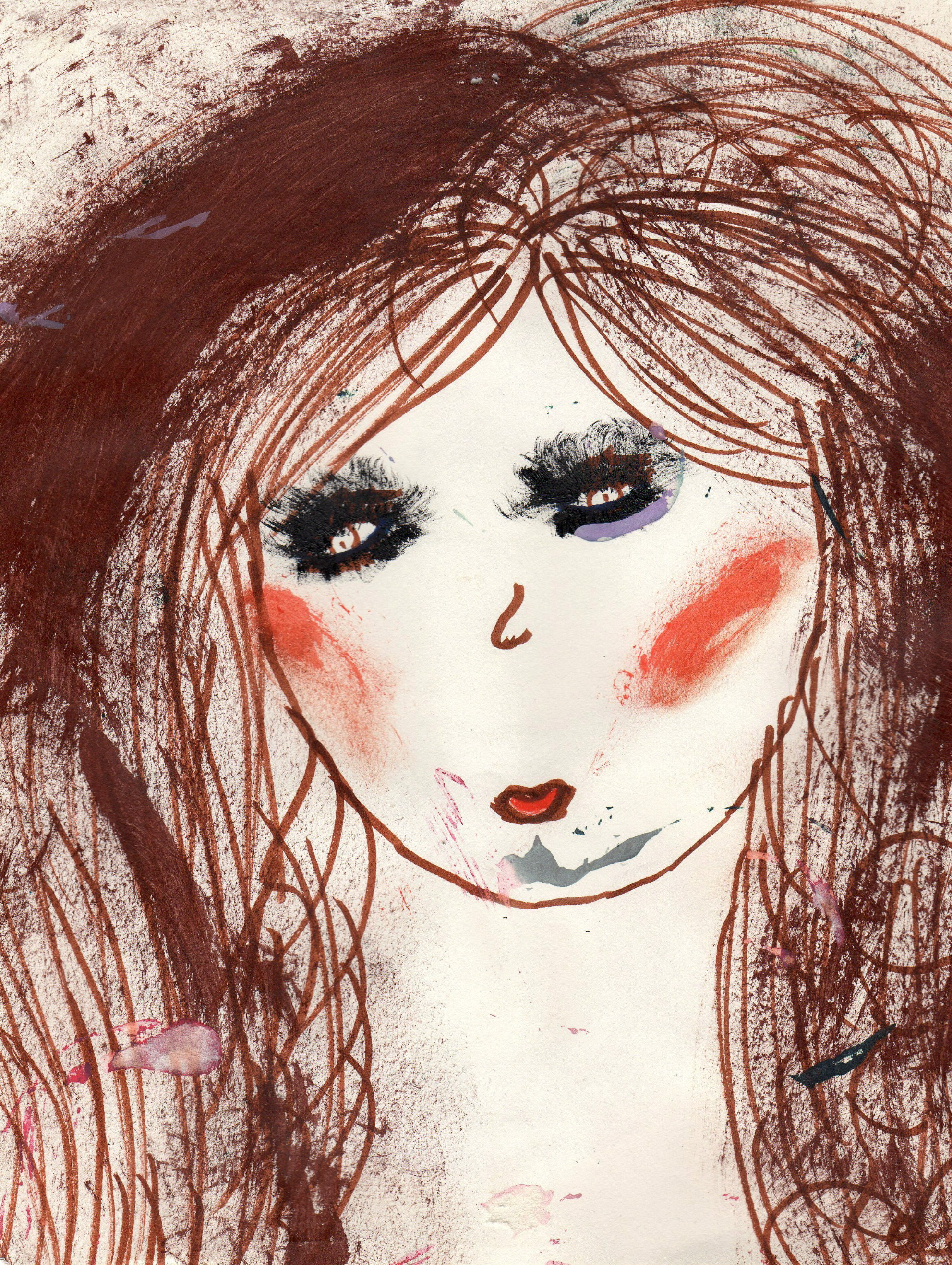 Brown Hair Angel Ross Paint, Markers on paper Photo Print $35