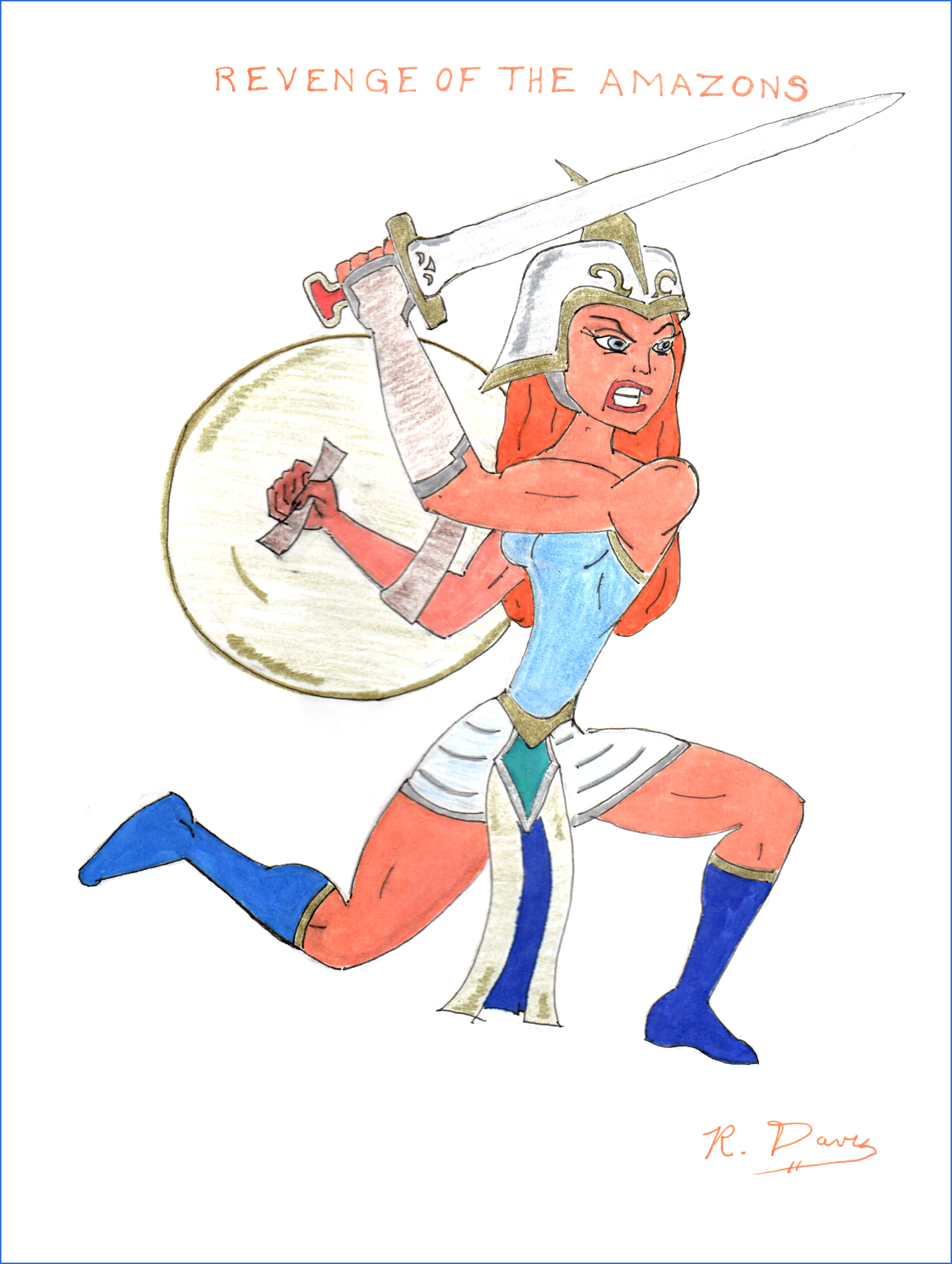 Revenge of the Amazons Ron Davis Markers on 8-1/2 x 11 paper - print $20