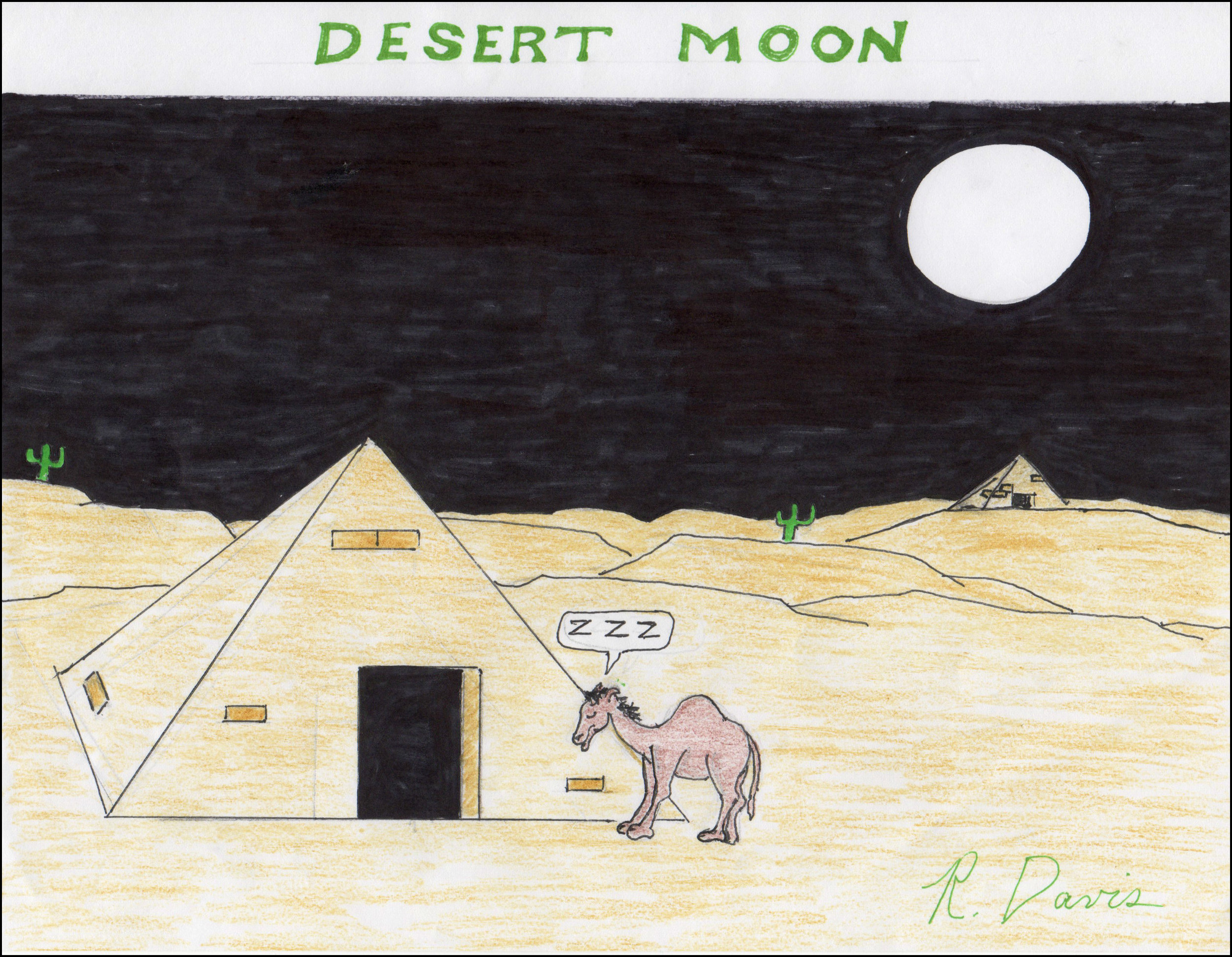 Desert Moon Ron Davis Markers on 8-1/2 x 11 paper - print $20
