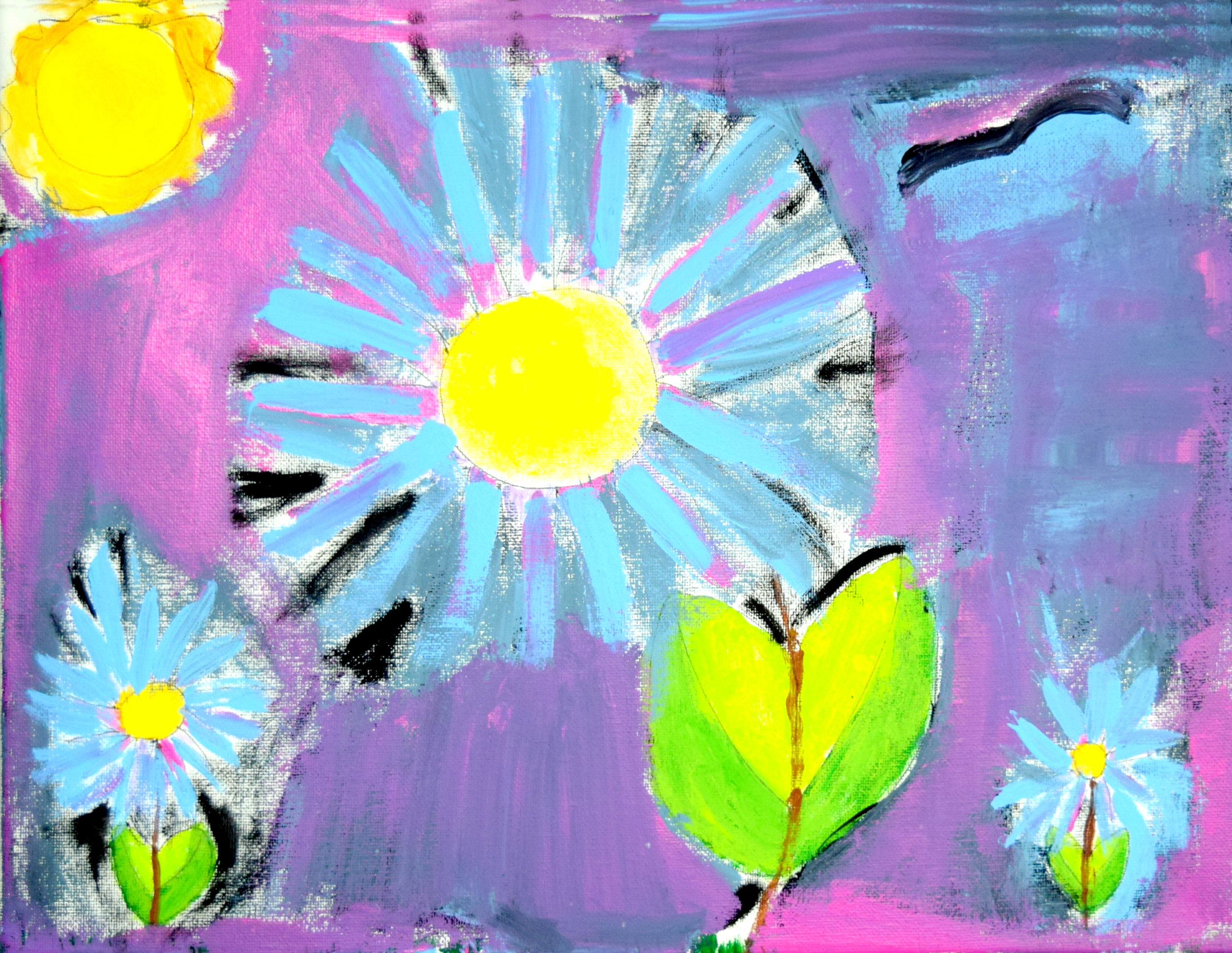 "Blue Asters Angel Ross Paint and markers,  8x10"" Photo Print $25"