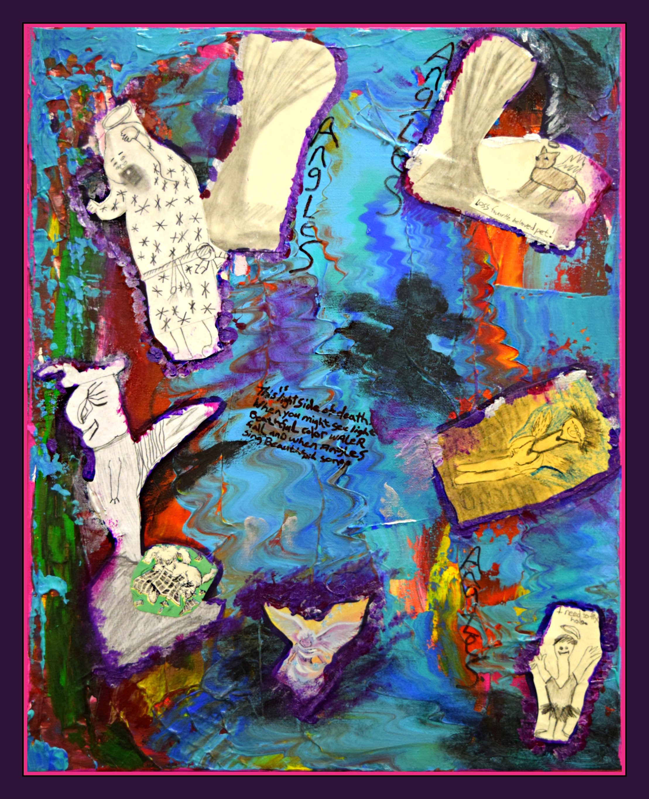 """Angels  Stephanie Bedell   Acrylic on paper with scraping tool   Print on 11x17""""photo paper $30"""
