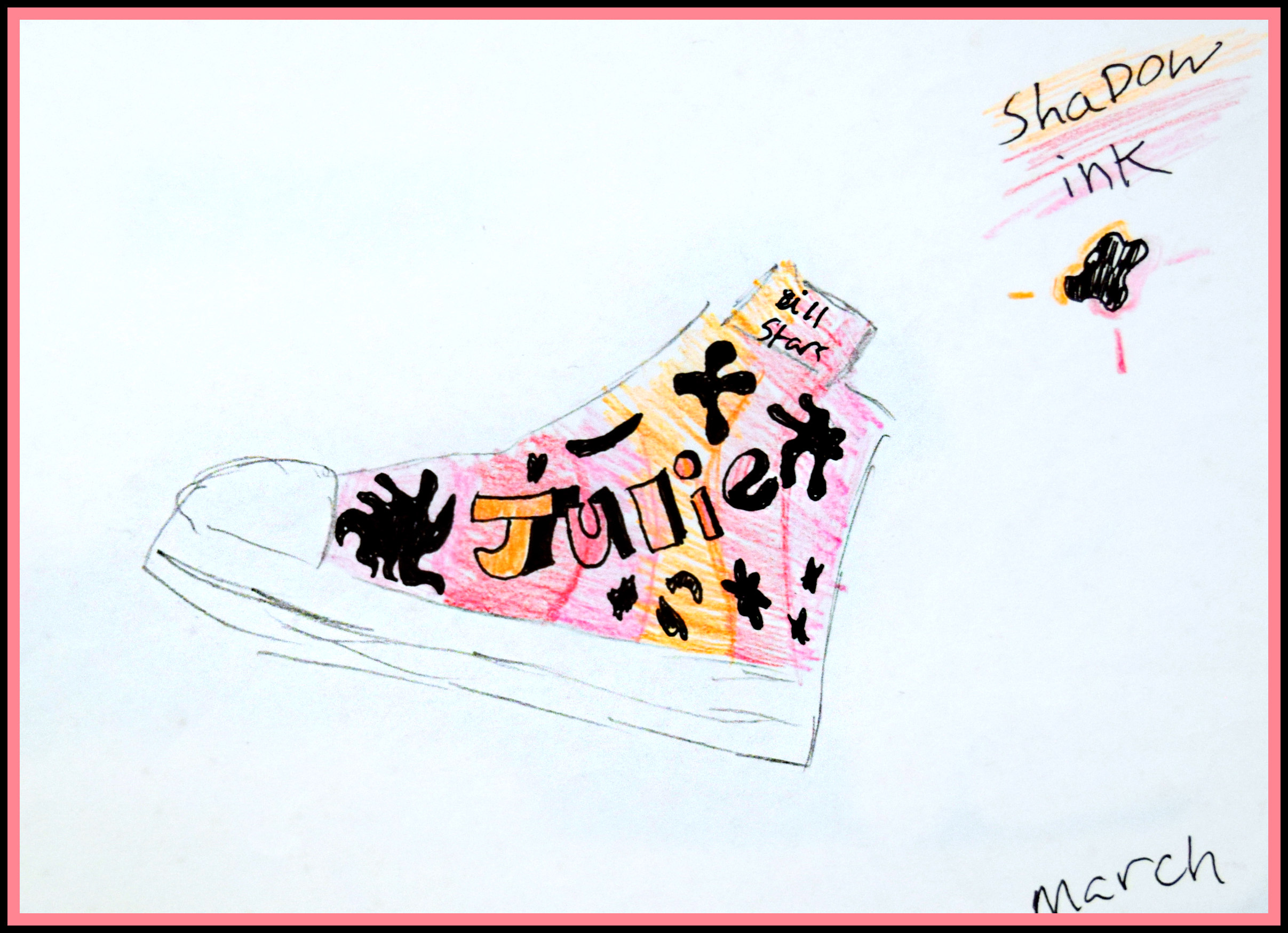 Julie's Shoe Shambria Loffer Colored Pencil Print on 8x10 $20