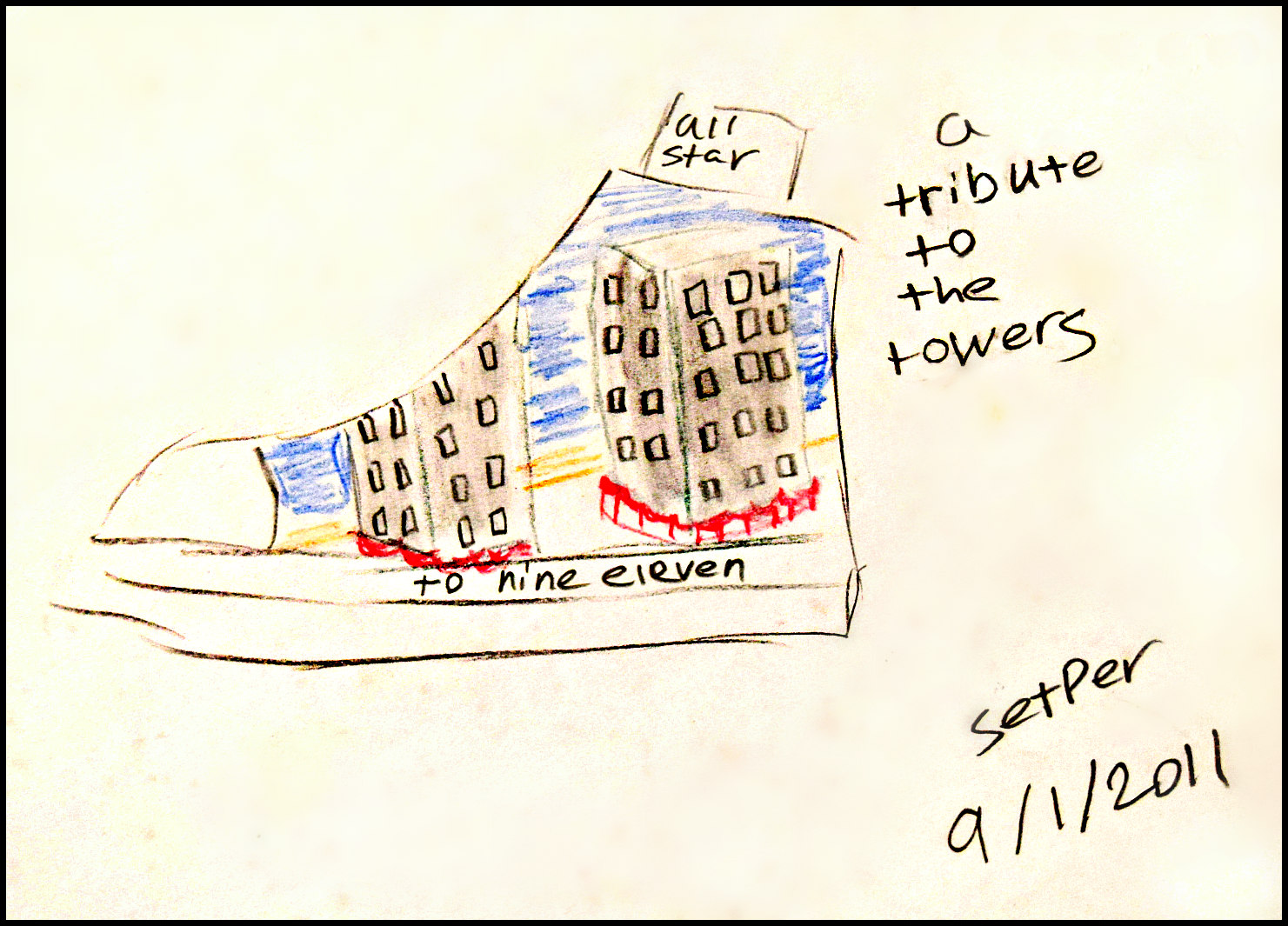 Tribute to the Twin Towers  Shambria Loffer   Colored Pencil   Print on 8x10 $20