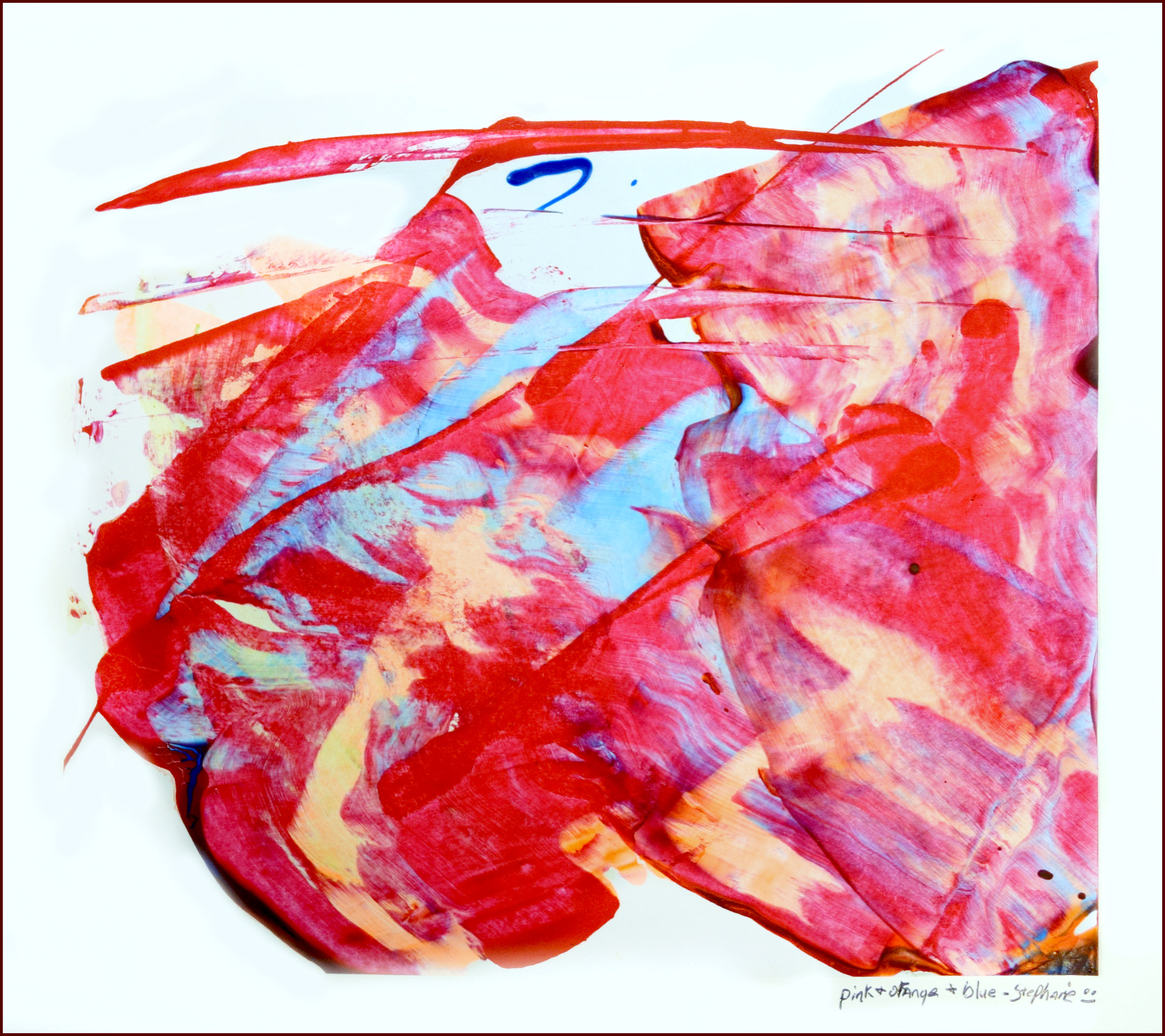 Pink and Orange $30 Stephanie Bedell 2016 Acrylic Scraping