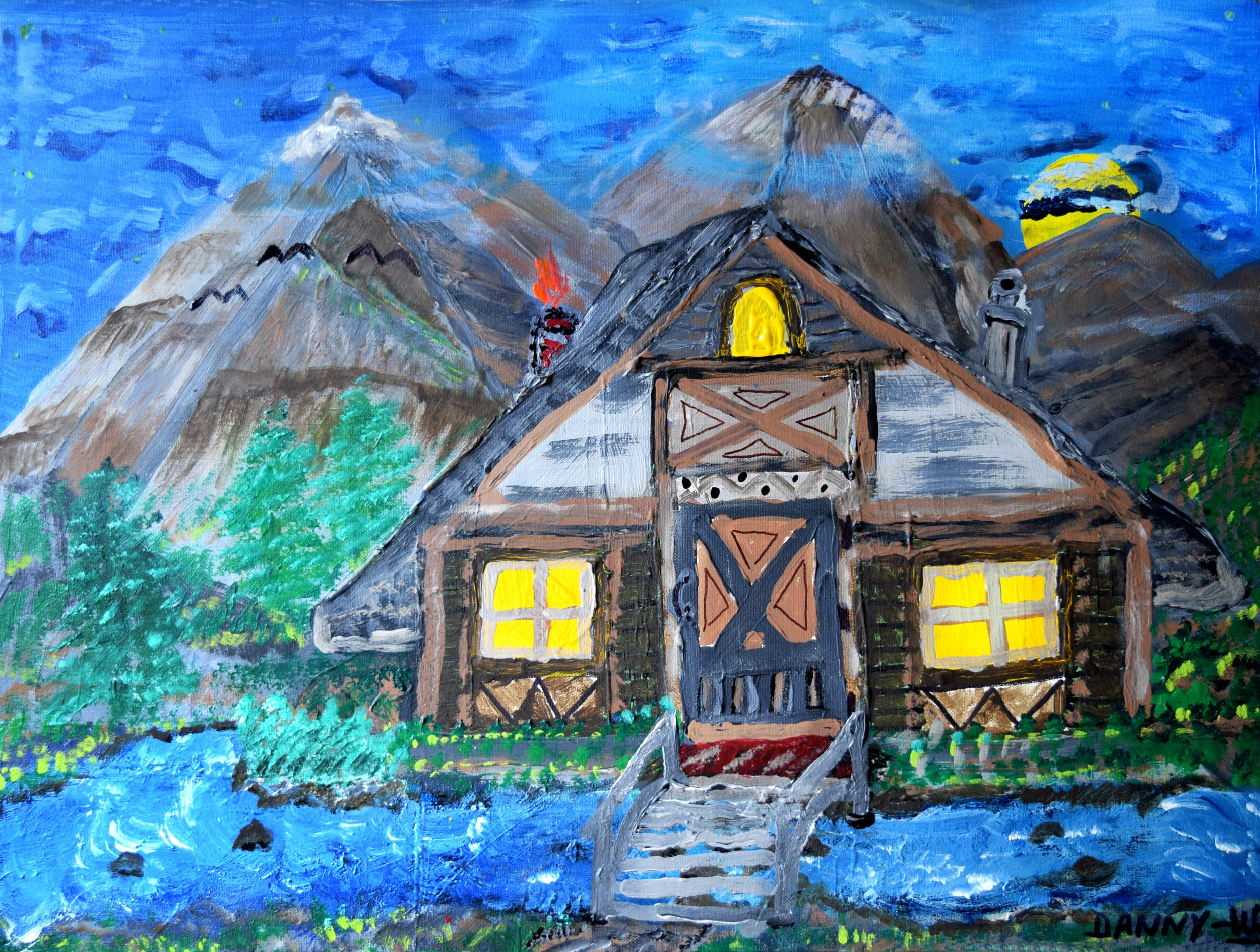 Mountain Stream Cabin  Wolf Danny Cook  Acrylic on canvas 11x17 photo print $35