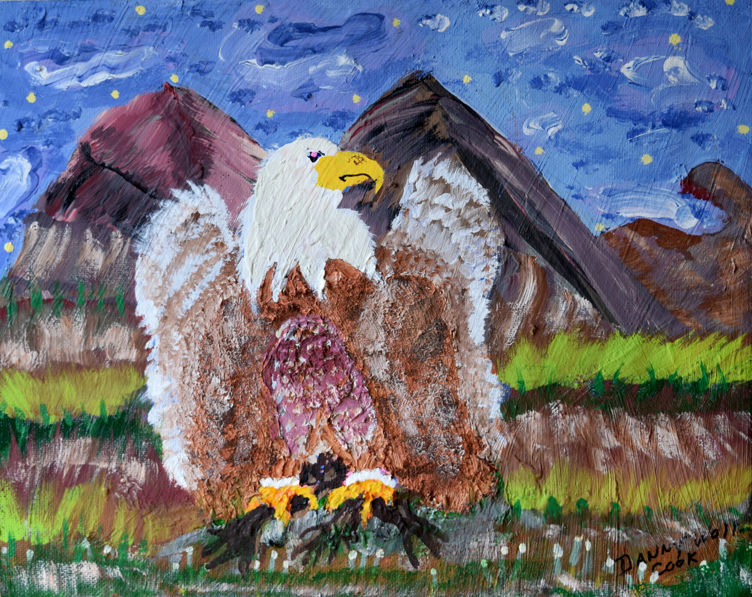 Eagle Danny Cook Acrylic on Canvas 11x17 size photo print  $35