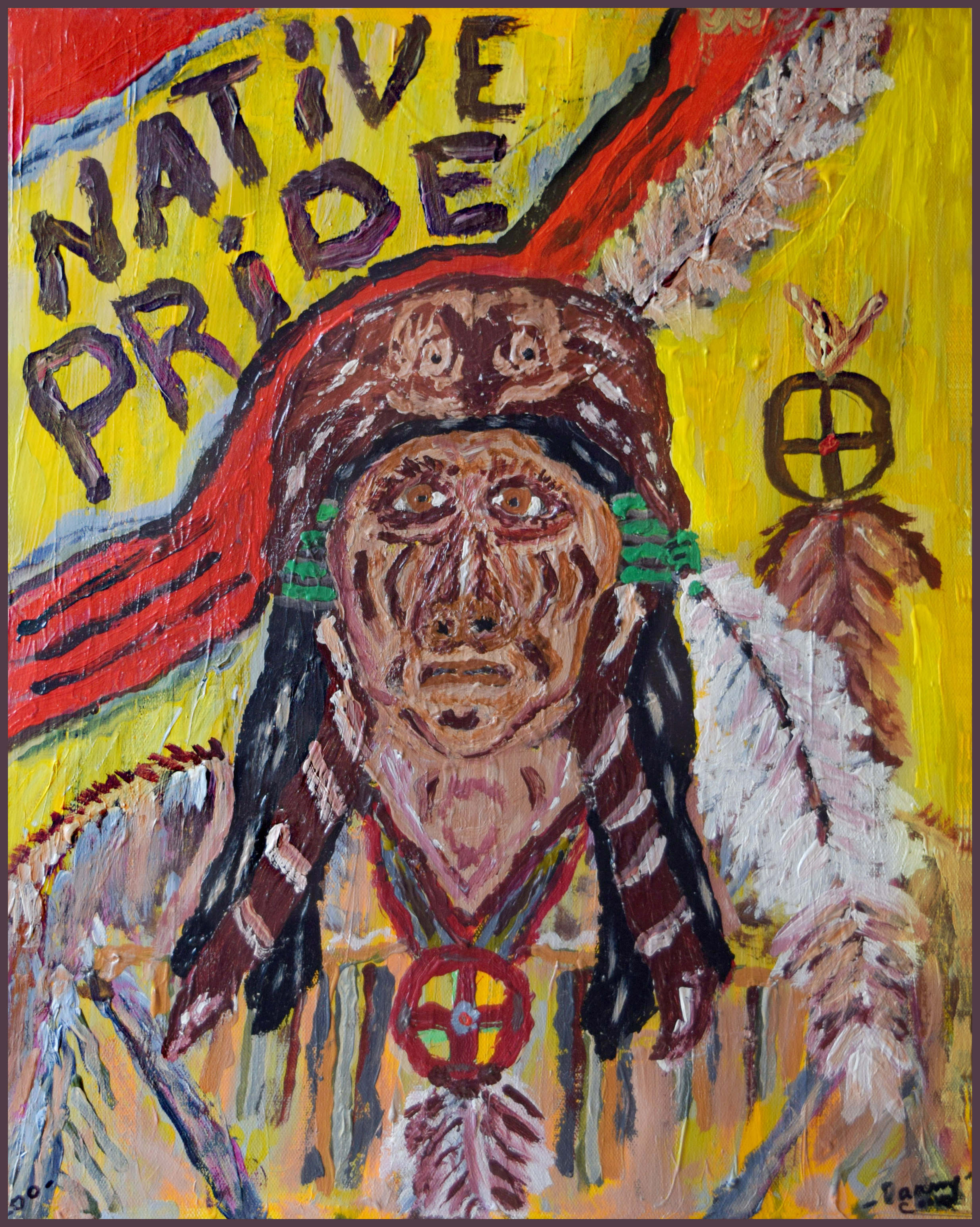 Native Pride Danny Cook Acrylic on Canvas 1x17 size photo print  $35