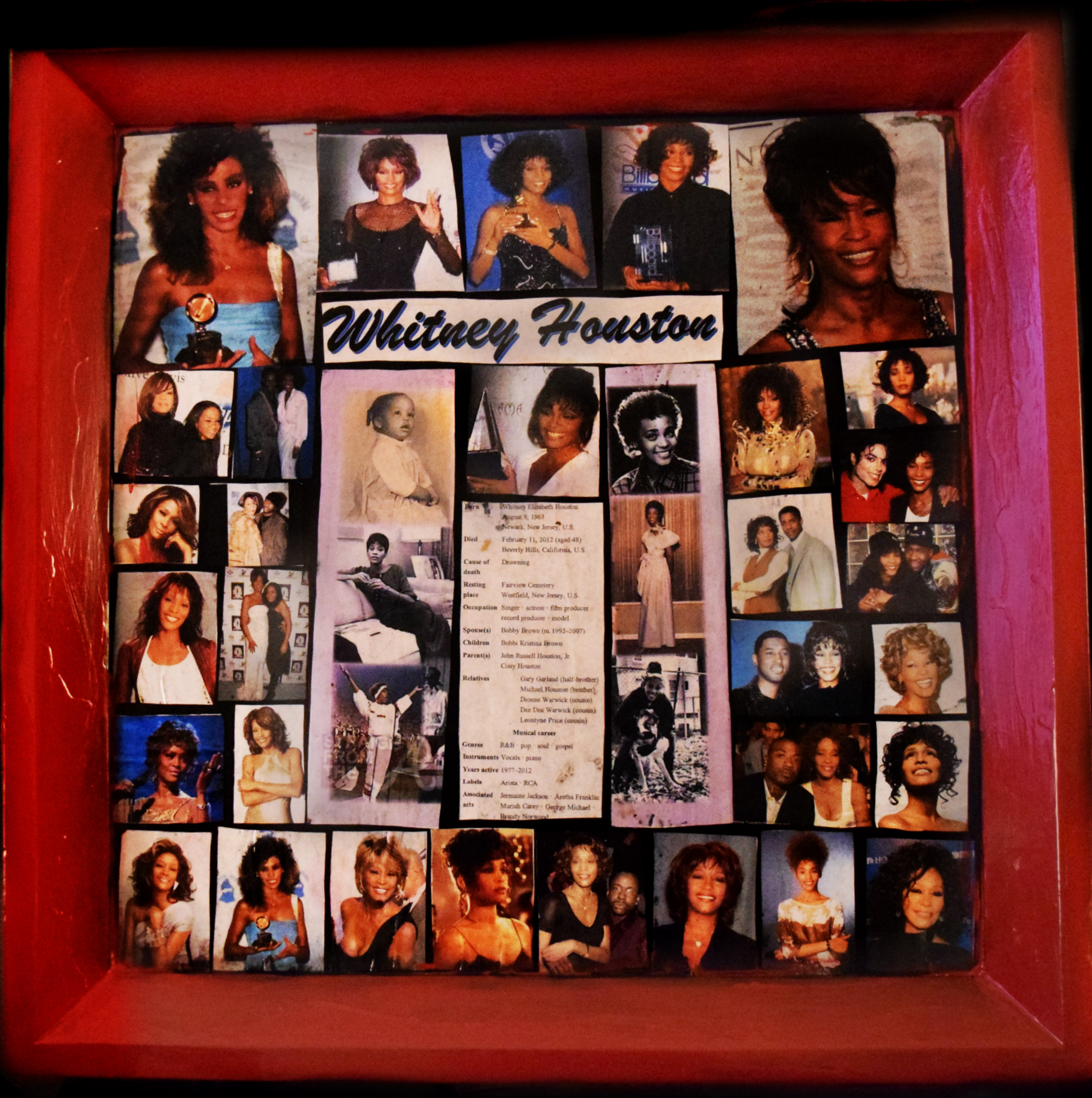 "Teresa O'Bert Whitney Houston Commemorative Collage on enameled wood 26""x26"""