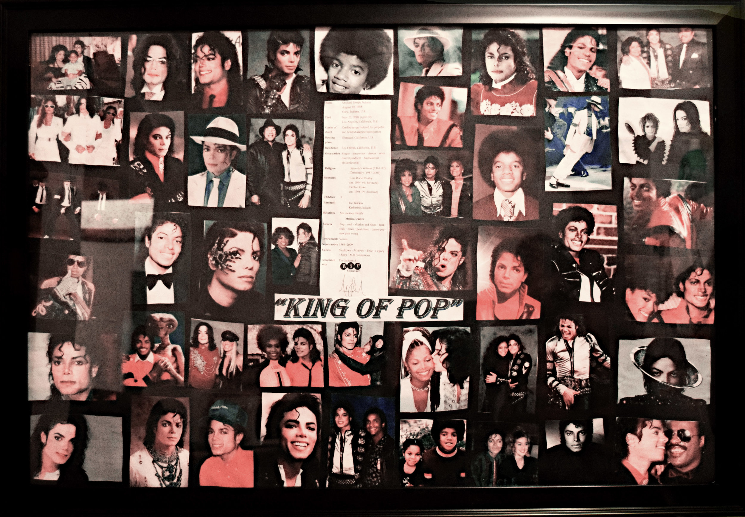 "Teresa O'Bert   Michael Jackson Commemorative    Collage on enameled   wood   20""x24"""