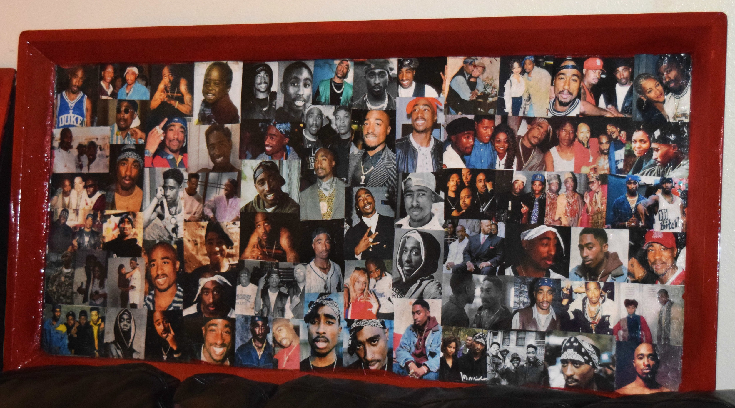 "Teresa O'Bert   Tupac Shakur Commemorative   Collage on enameled   wood   26""x40"""