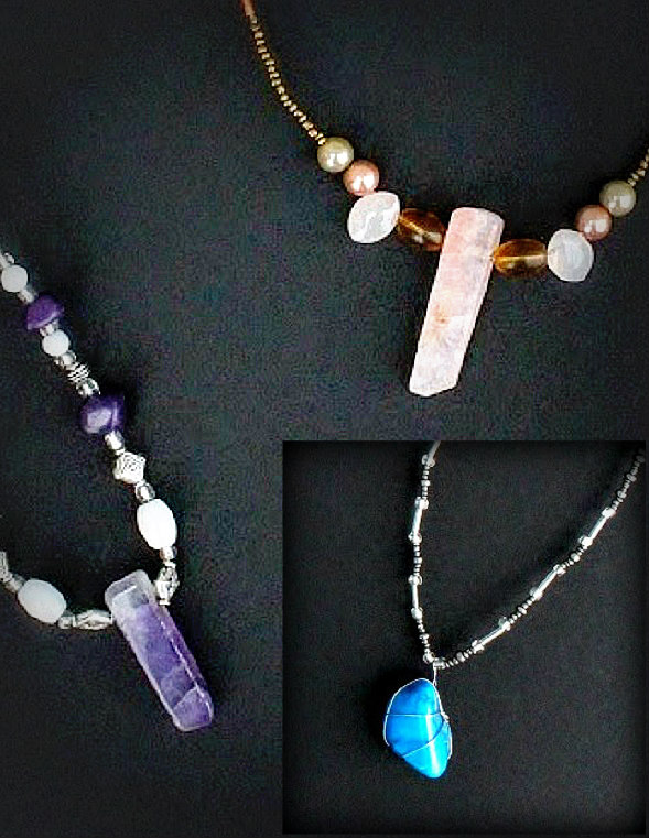 Necklaces $25 each Eddie Raines 2016 Single crystal pendants and beads