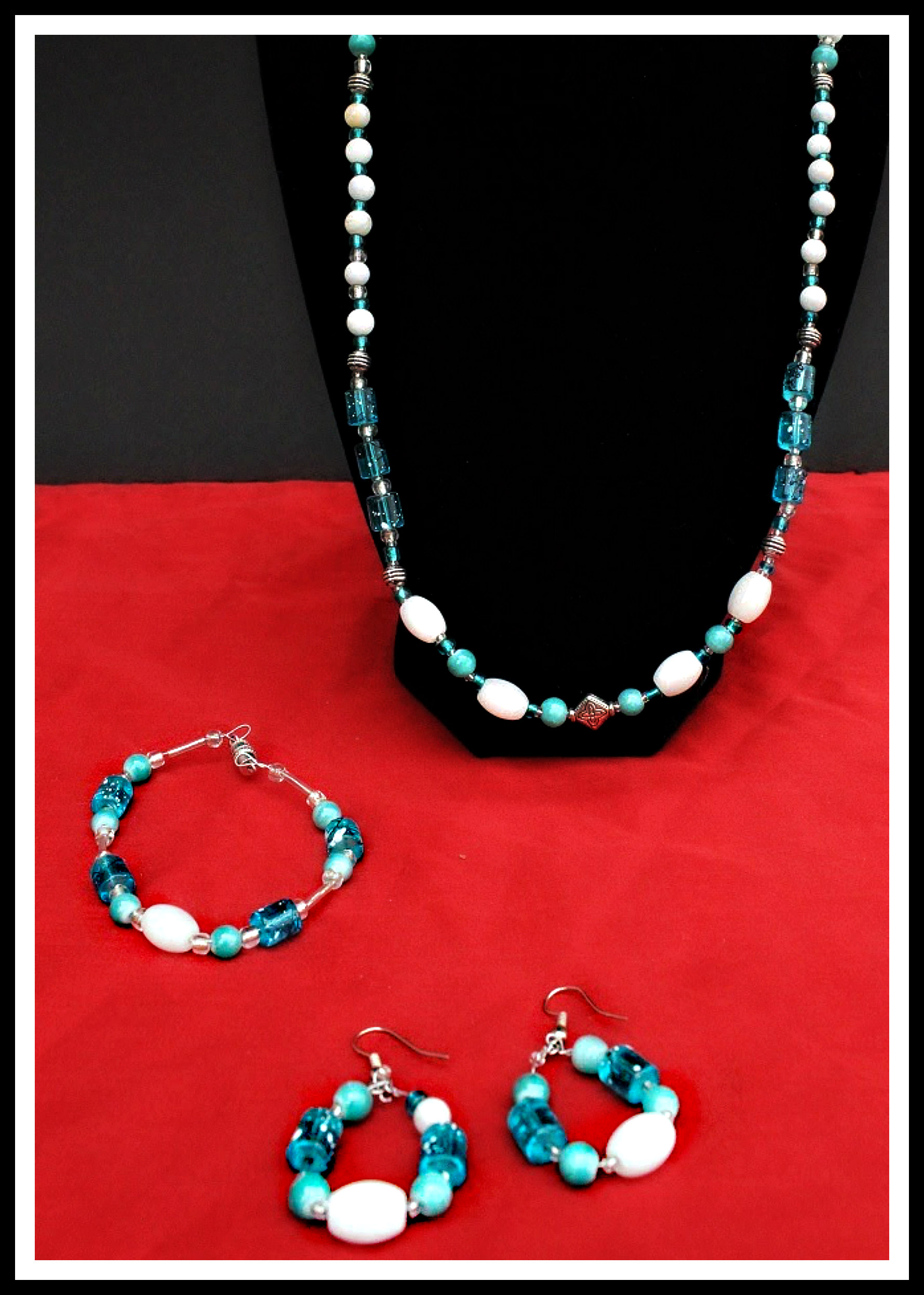 Necklace, bracelet and earrings $35 Eddie Raines 2016 Glass and metal beads