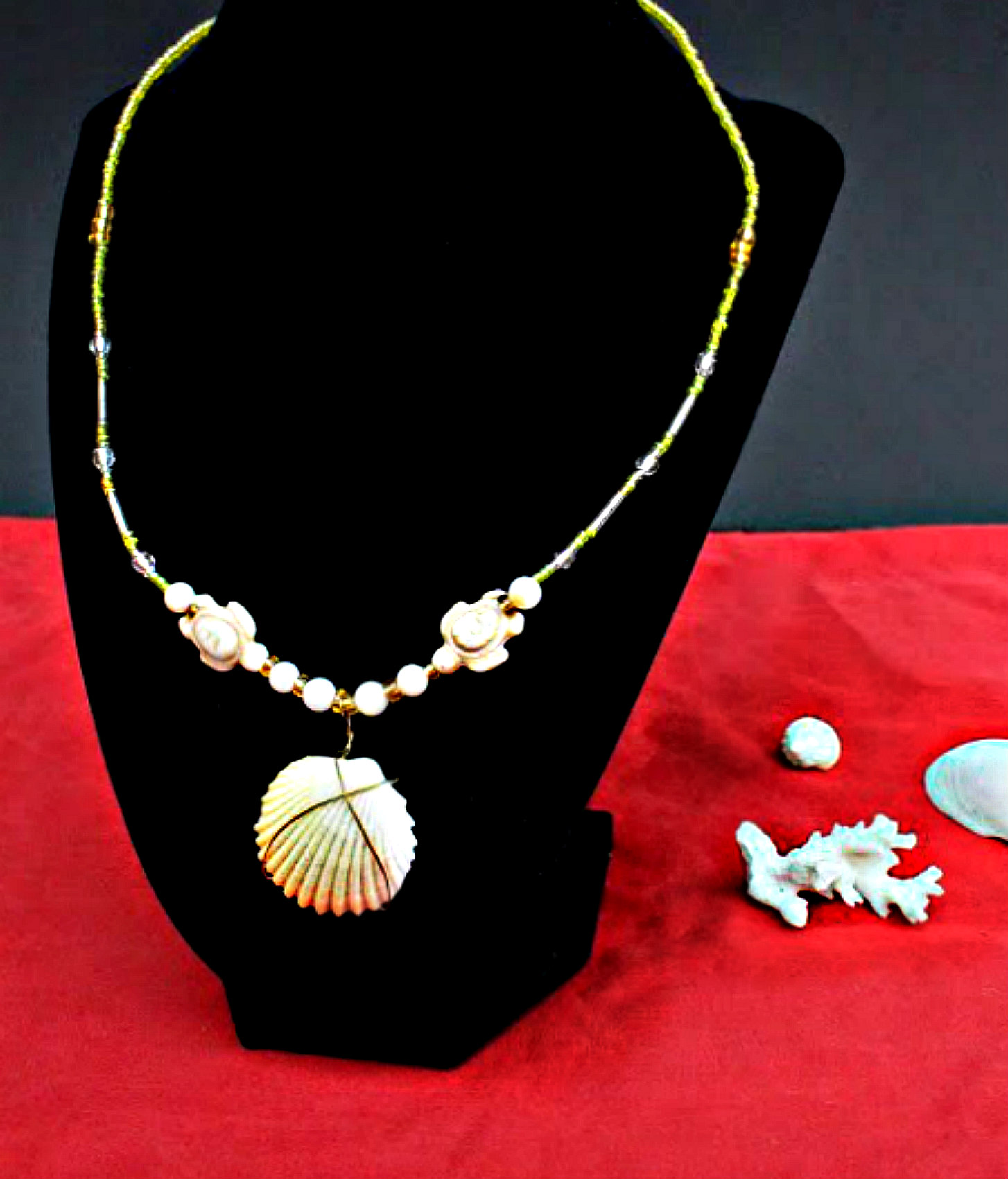 Necklace $25 Eddie Raines 2016 Shell, coral and beads with copper wire