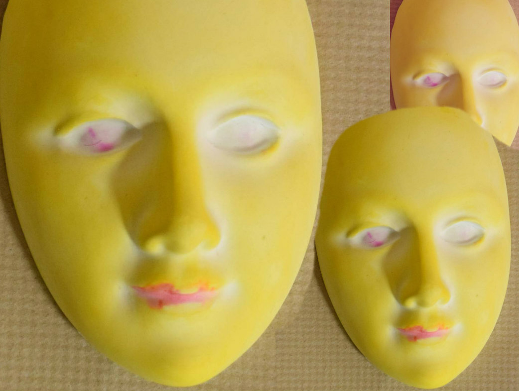 Theatre Mask in Yellow Jenna Helms Plaster of Paris and paint Price pending