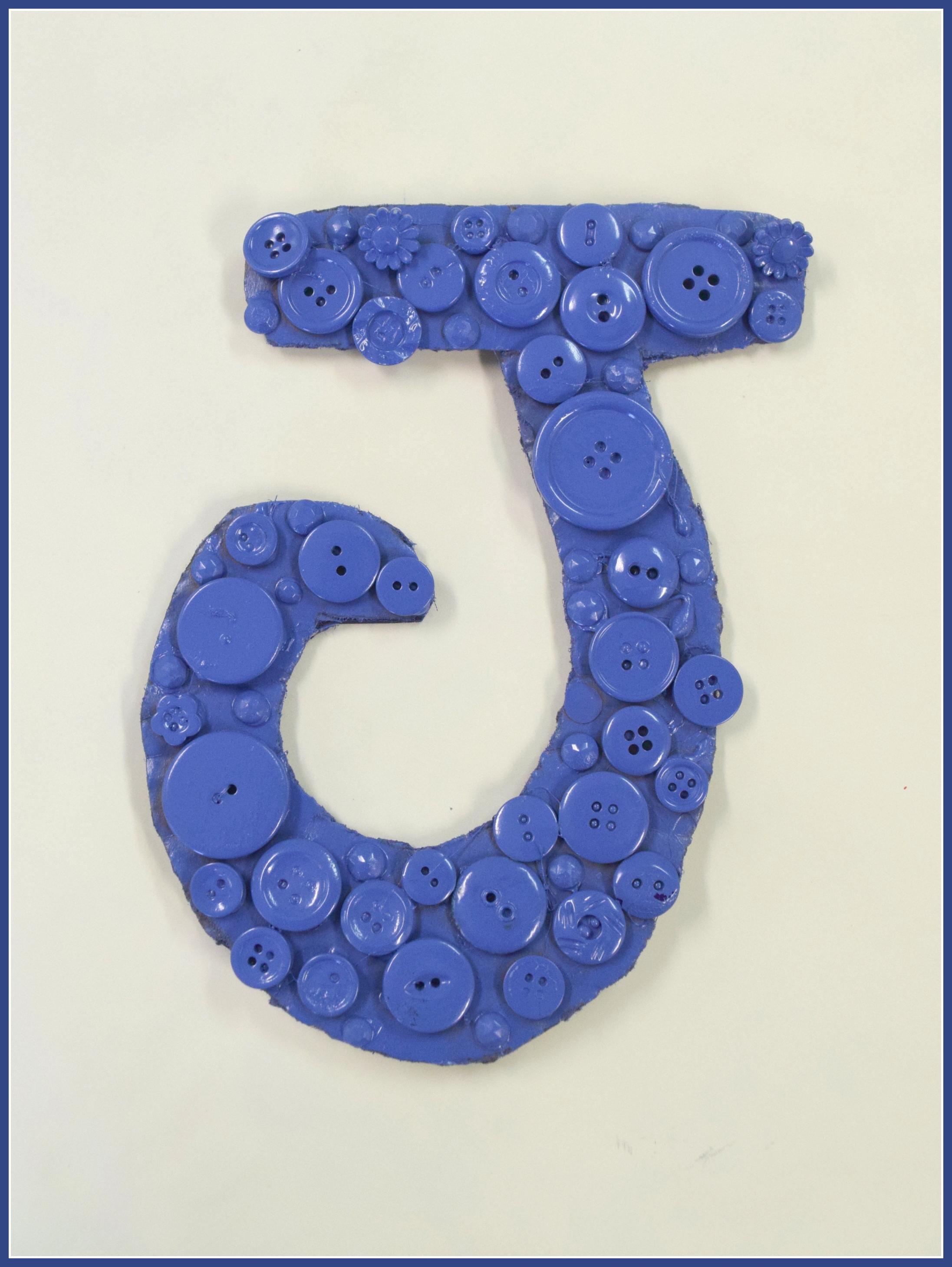 J for Jenna Jenna Helms cardboard, buttons, spray paint