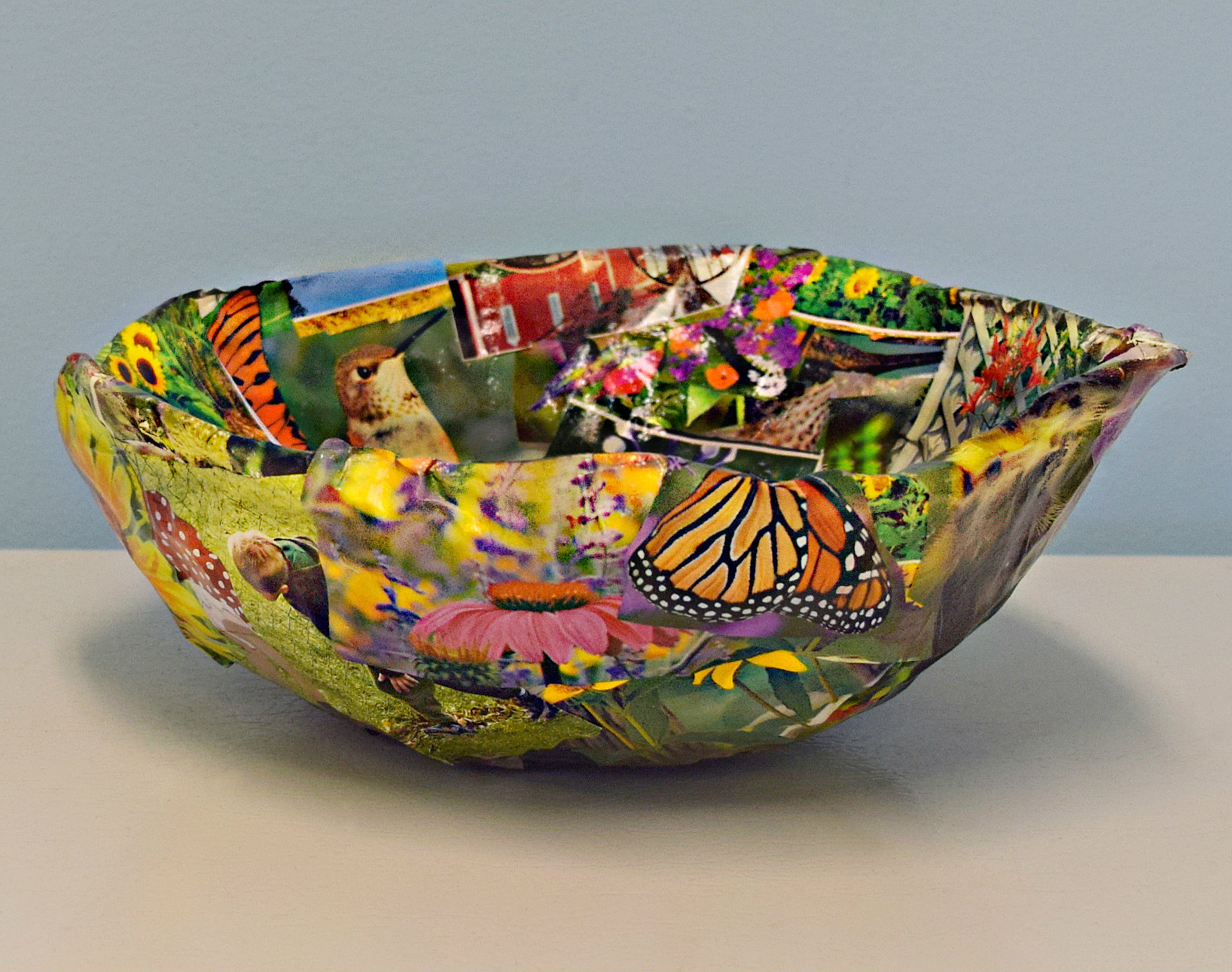 Life of Art Susan Nevers Paper Mache Bowl 11 inches x 3.5 inches
