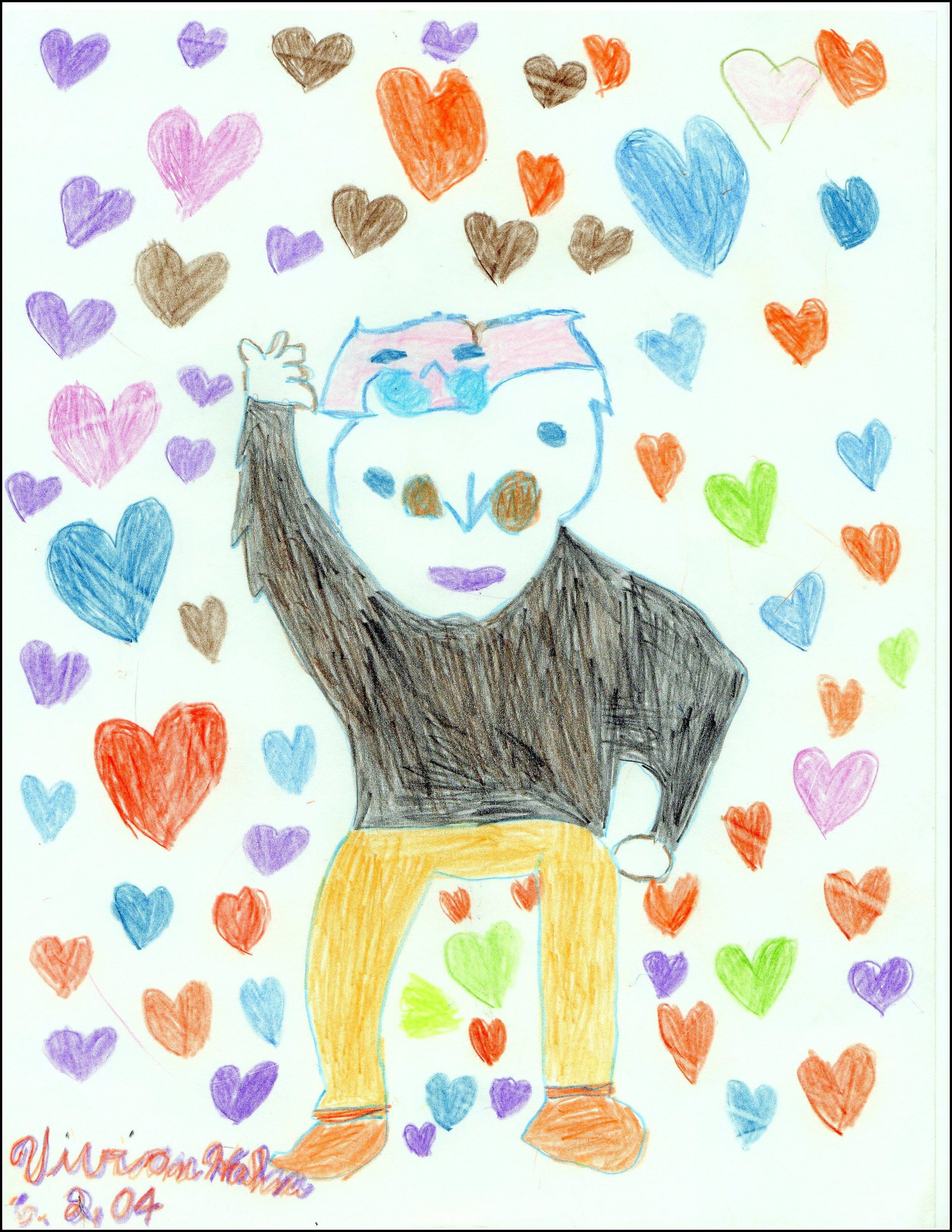 "Man with Hearts Vivian Hahn 9/9/2012 Color Marker on Paper 8-1/2 x 11"" prints $20, originals $40"