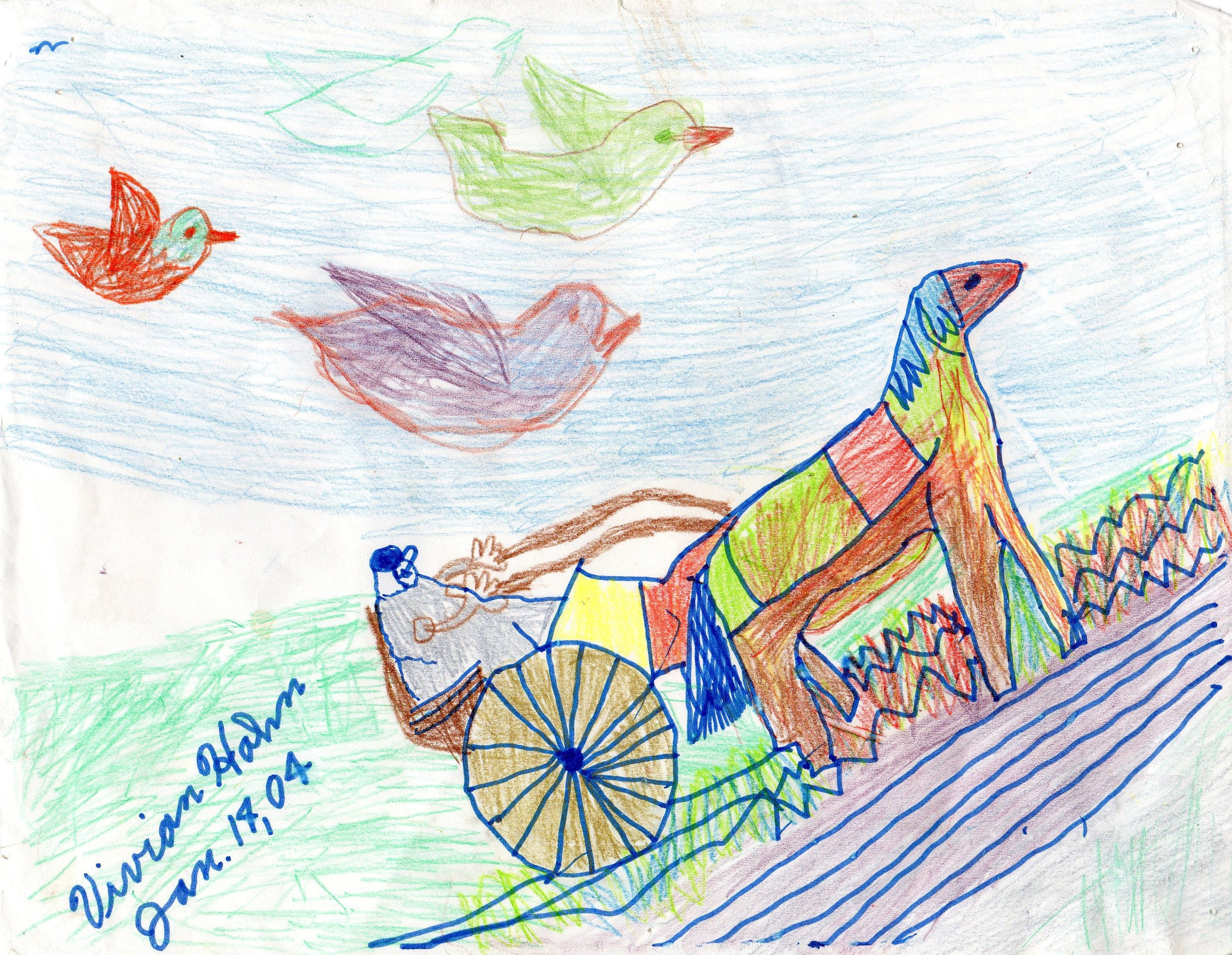 Horse pulling a Cart Vivian Hahn 1/4/2004 Color Pencil on Paper Prints $20, originals $40