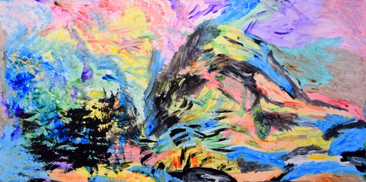 """Abstract Three 30"""" x 12"""" Acrylic $150"""