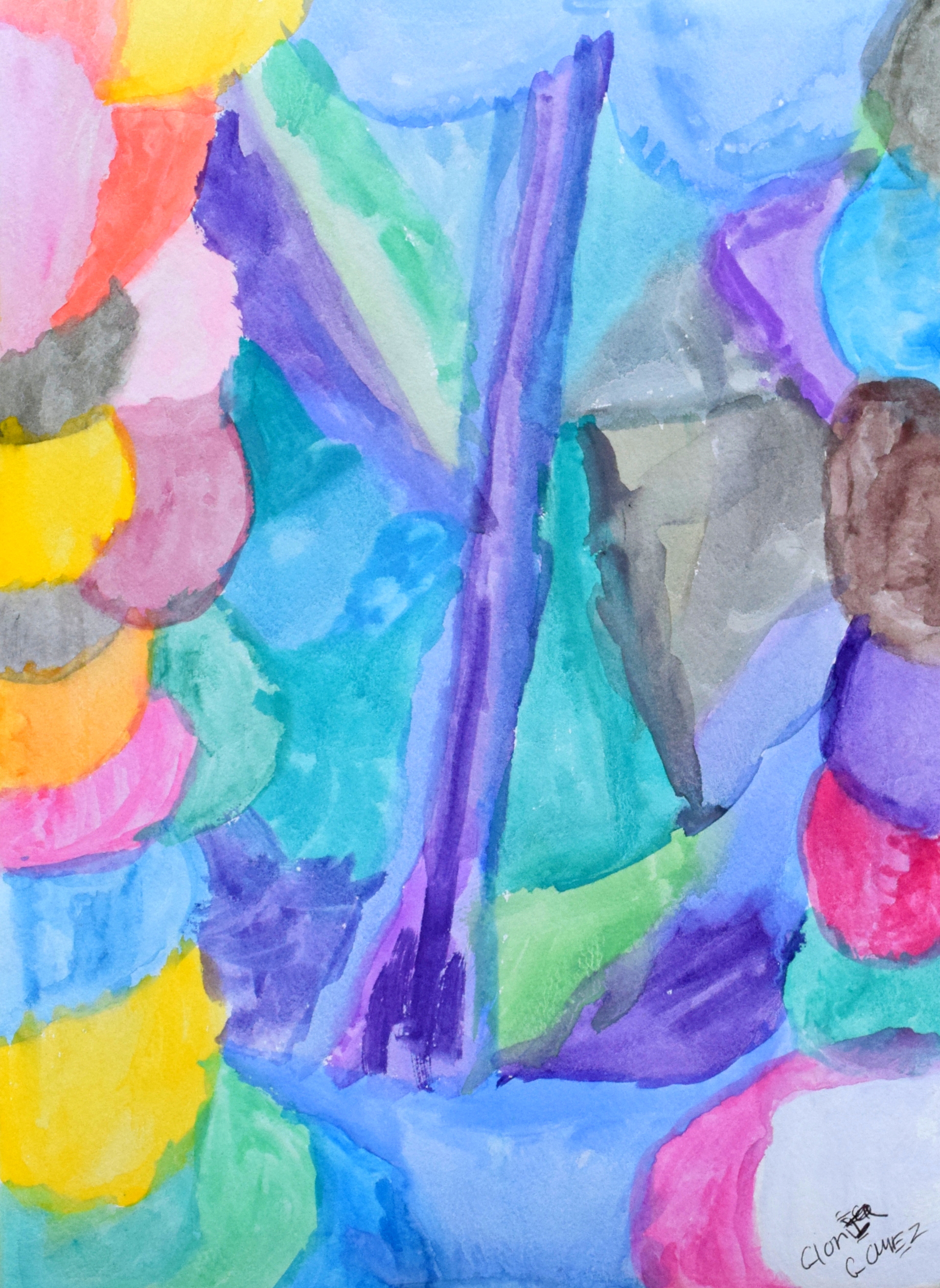 """Abstract Eight 9 x 12"""" Watercolor on Paper $45"""