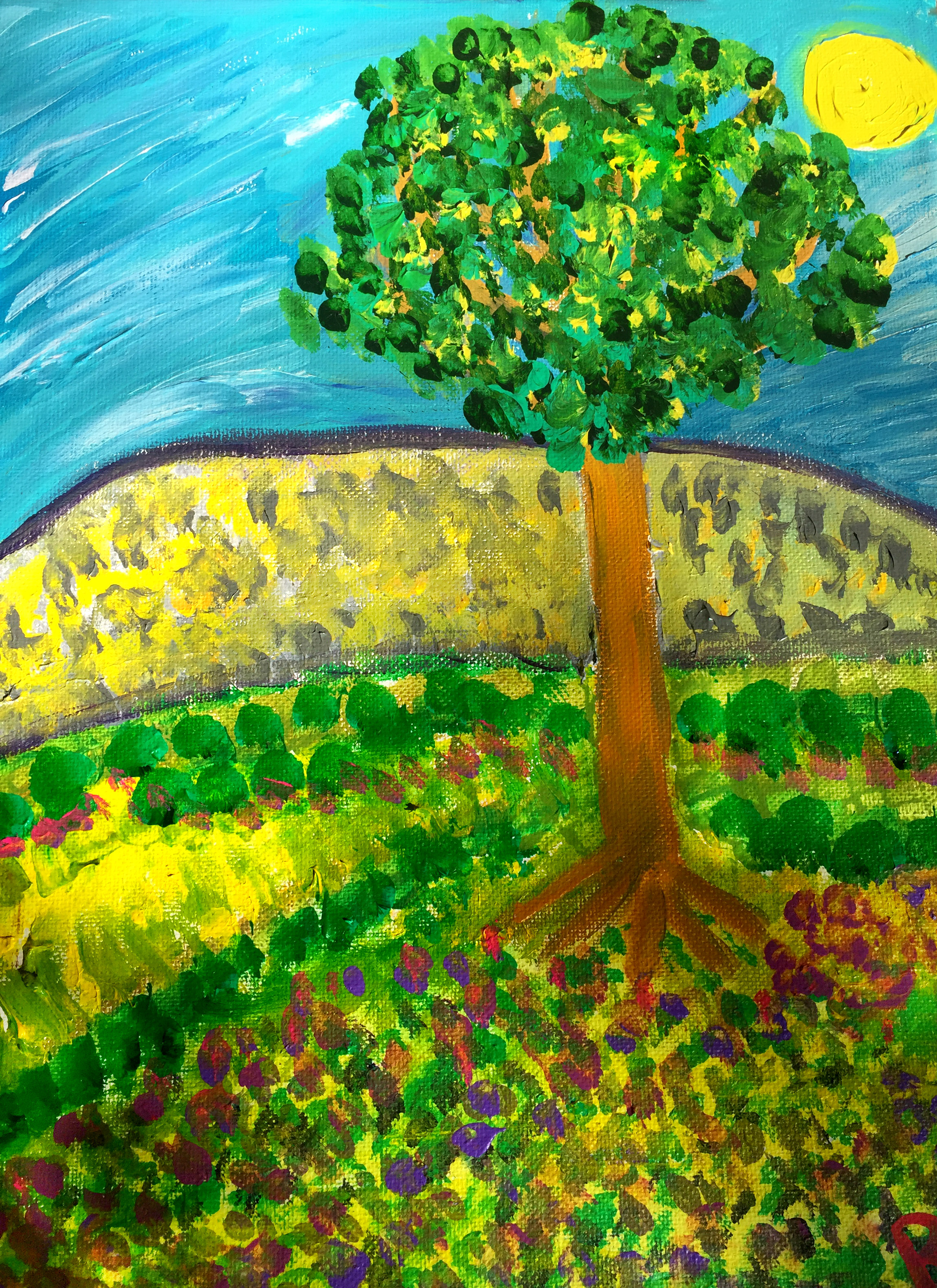 Tree in a Meadow in Spring Rachael Alhassan 2018 Acrylic on canvas NFS, print $45