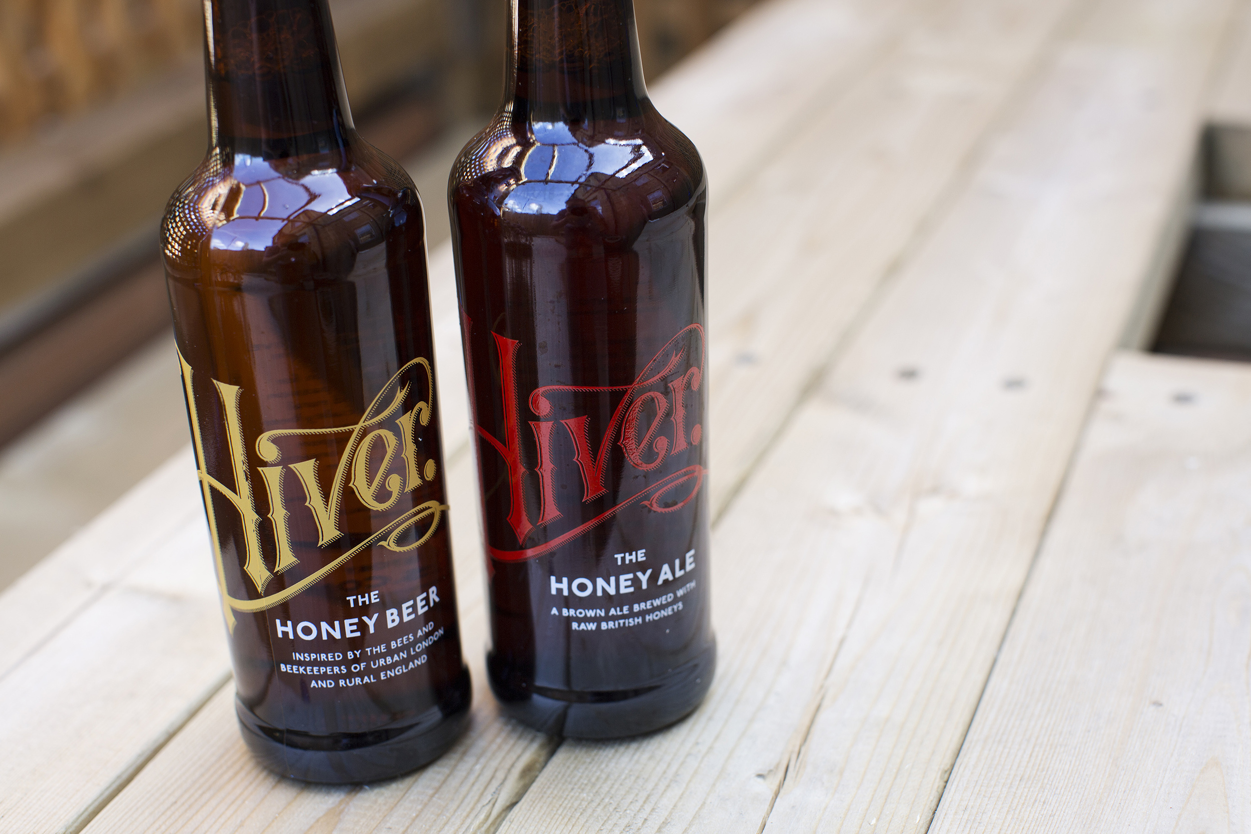 The core Hiver range: The Honey Beer and the Honey Ale