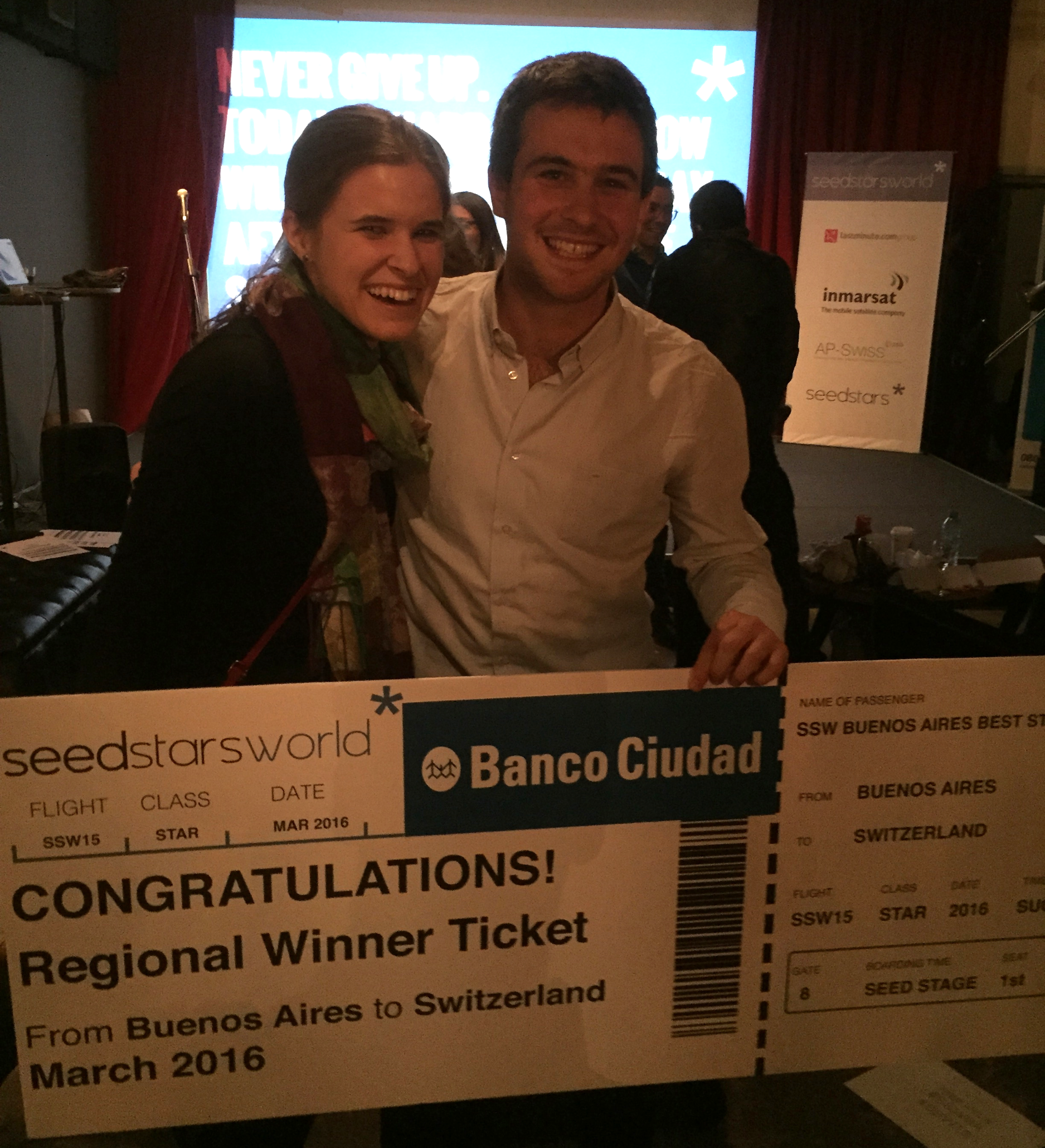 Kaity Ersek with Lucas Glustman, CEO & Founder of Flimper. Flimper just won the SeedStars Competition in Buenos Aires, Argentina.