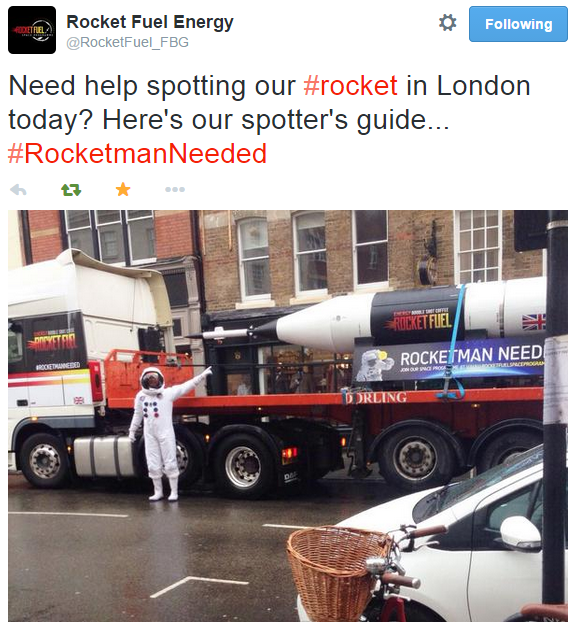 A still from the finish rocket's 'tour' of London, the route taking in several Halls of Residence and landmarks, with our Rocketman and Rocketgirls models handing out free samples along the way.
