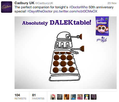 The brief was to find a way to use Cadbury products to reference the zeitgeist in a fun way that added value and helped position Cadbury as a fun and culturally-relevant brand. In this case, the Doctor Who 50th anniversary was a perfect fit: British, fun and appealing to all ages.