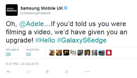 Adele's video for  Hello  featured her using a flip phone, giving a smartphone brand the perfect opportunity to make a witty, relevant and timely comment.