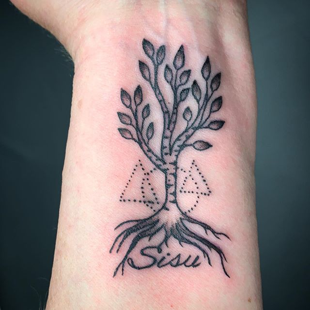 Matching silver birch trees for this family- always love to do matchy matchy stuff! ... ... ... #silverbirch #familytree #treetattoo #familytattoo #linework #smalltattoos