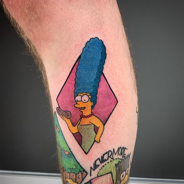 I just think potatoes are neat too marge! Super fun one- thanks again @bryanoftarth for great chats and fun ideas! 🥔! ... ... ... #simpsons #simpsonstattoo #margesimpson #humankanvas #yyctattoo #yycart