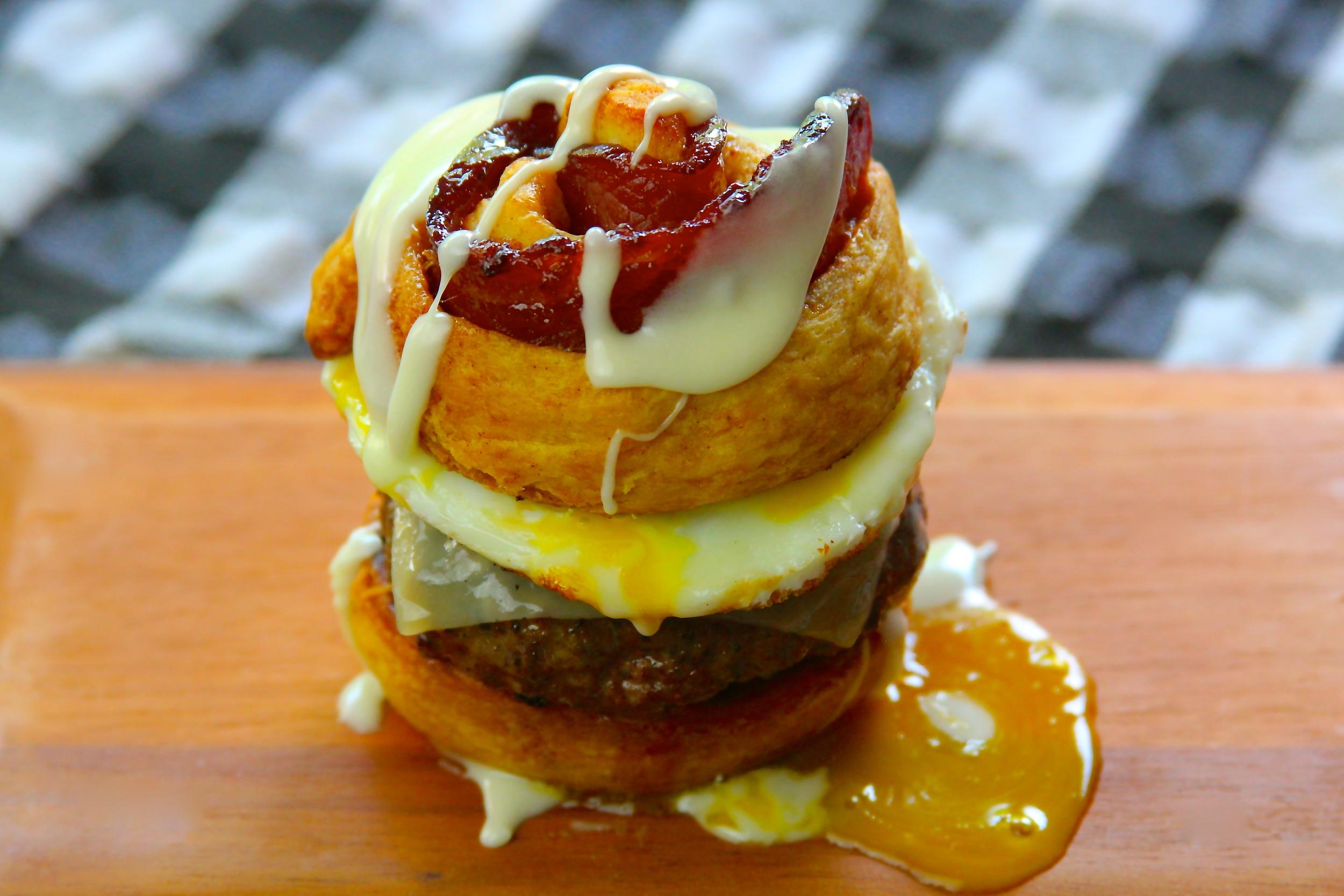 Candied Bacon Cinnamon Roll Burger Recipe