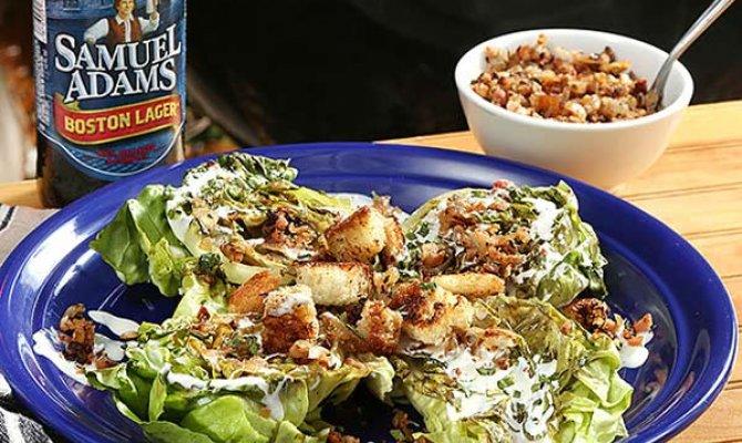 Grilled Little Gem Salad with Brown Butter Brioche, Crispy Pork, and Sam Adams Buttermilk Dressing
